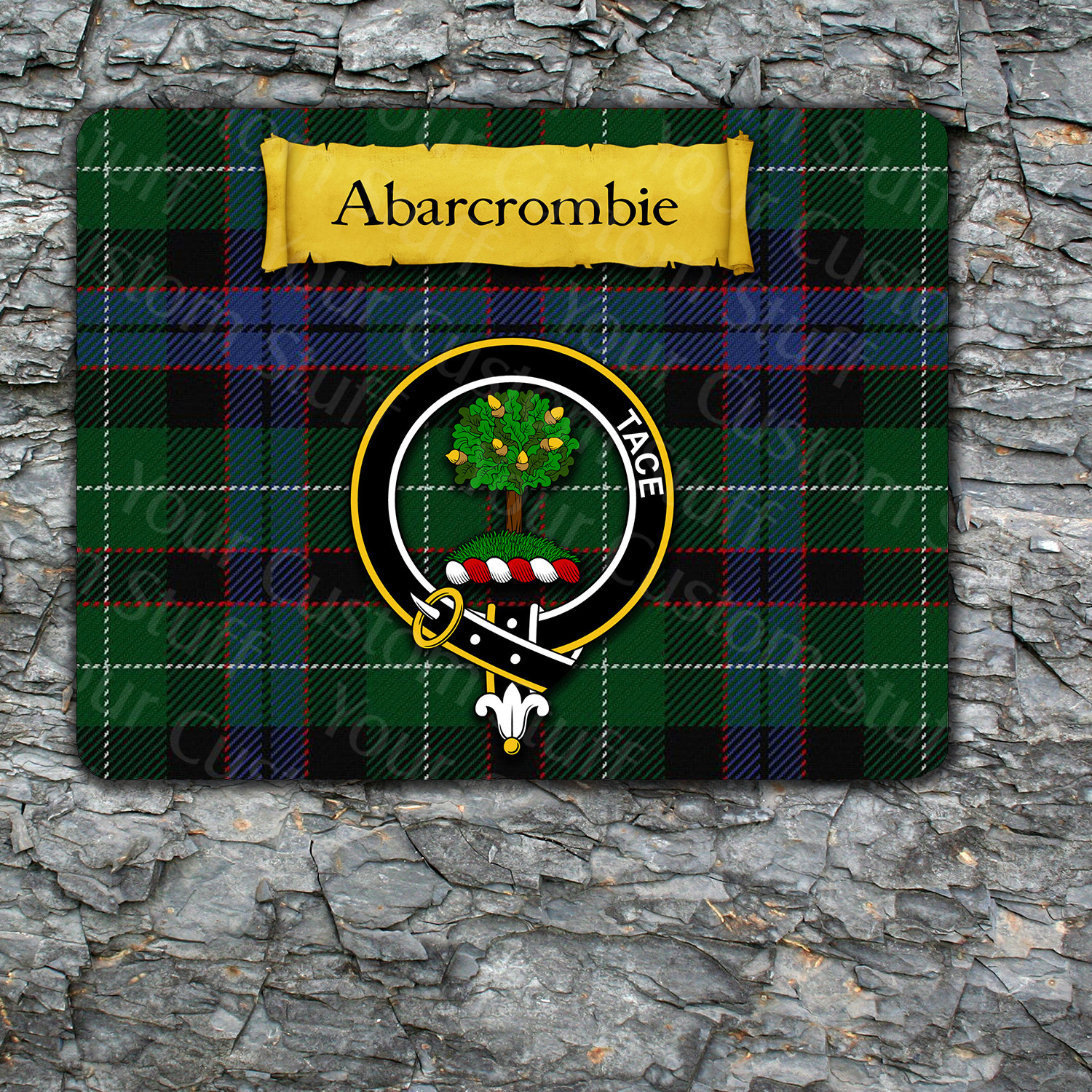 Abercrombie Mousepad with Scottish Clan Coat of Arms on Clan Tartan Background