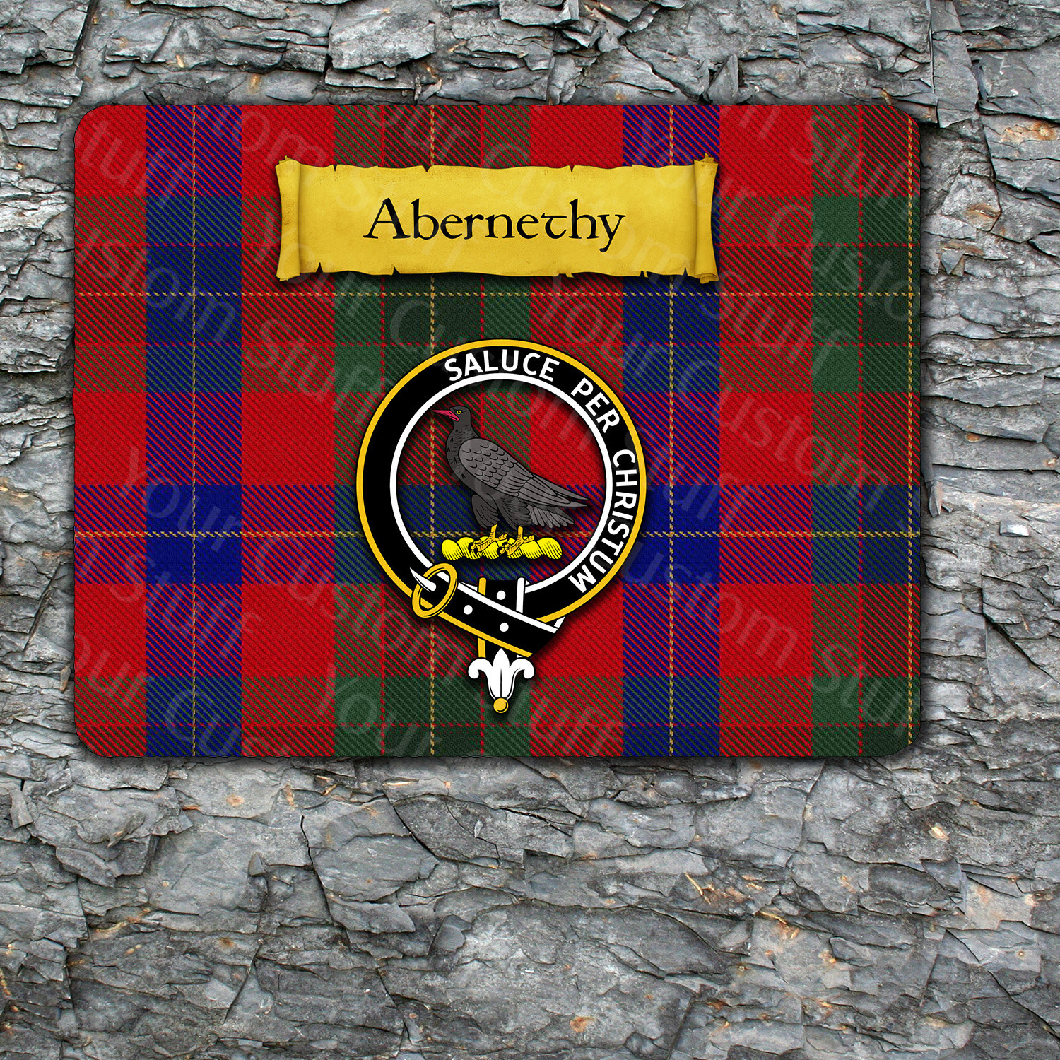 Abernethy Mousepad with Scottish Clan Coat of Arms on Clan Tartan Background