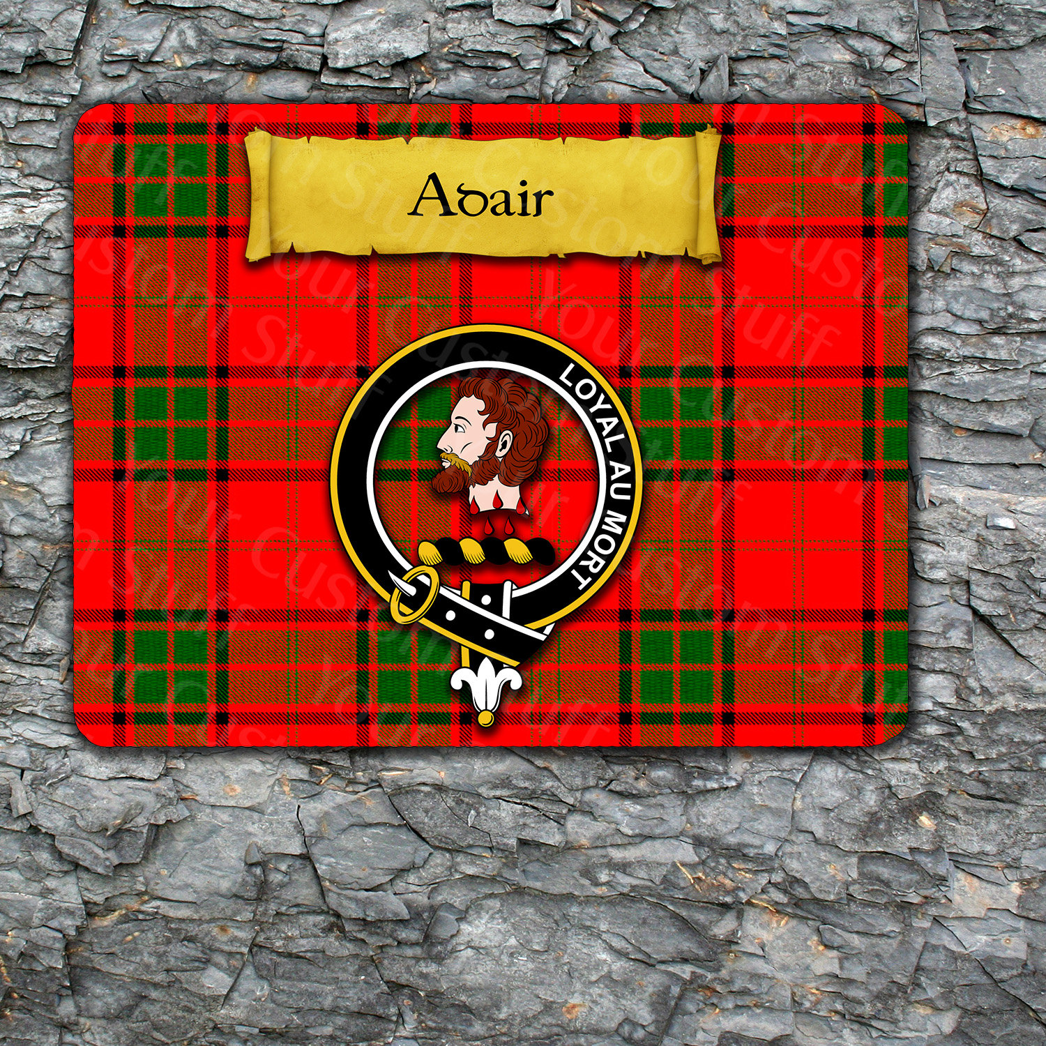 Adair Mousepad with Scottish Clan Badge on Clan Tartan Background