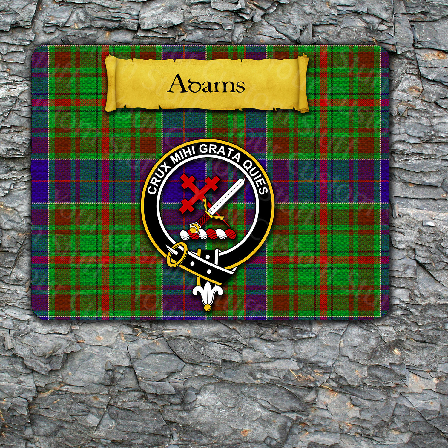 Adam or Adams Mousepad with Scottish Clan Badge on Clan Tartan Background