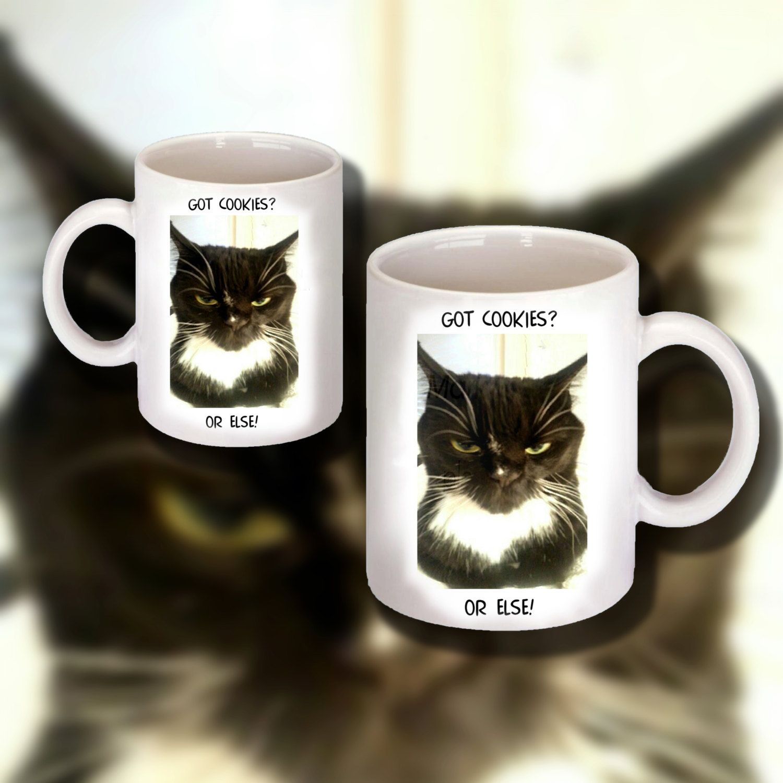 "Funny ""Got Cookies"" Cat Design on 11 0z. Ceramic Coffee Mug  ""Great Gift Item"""