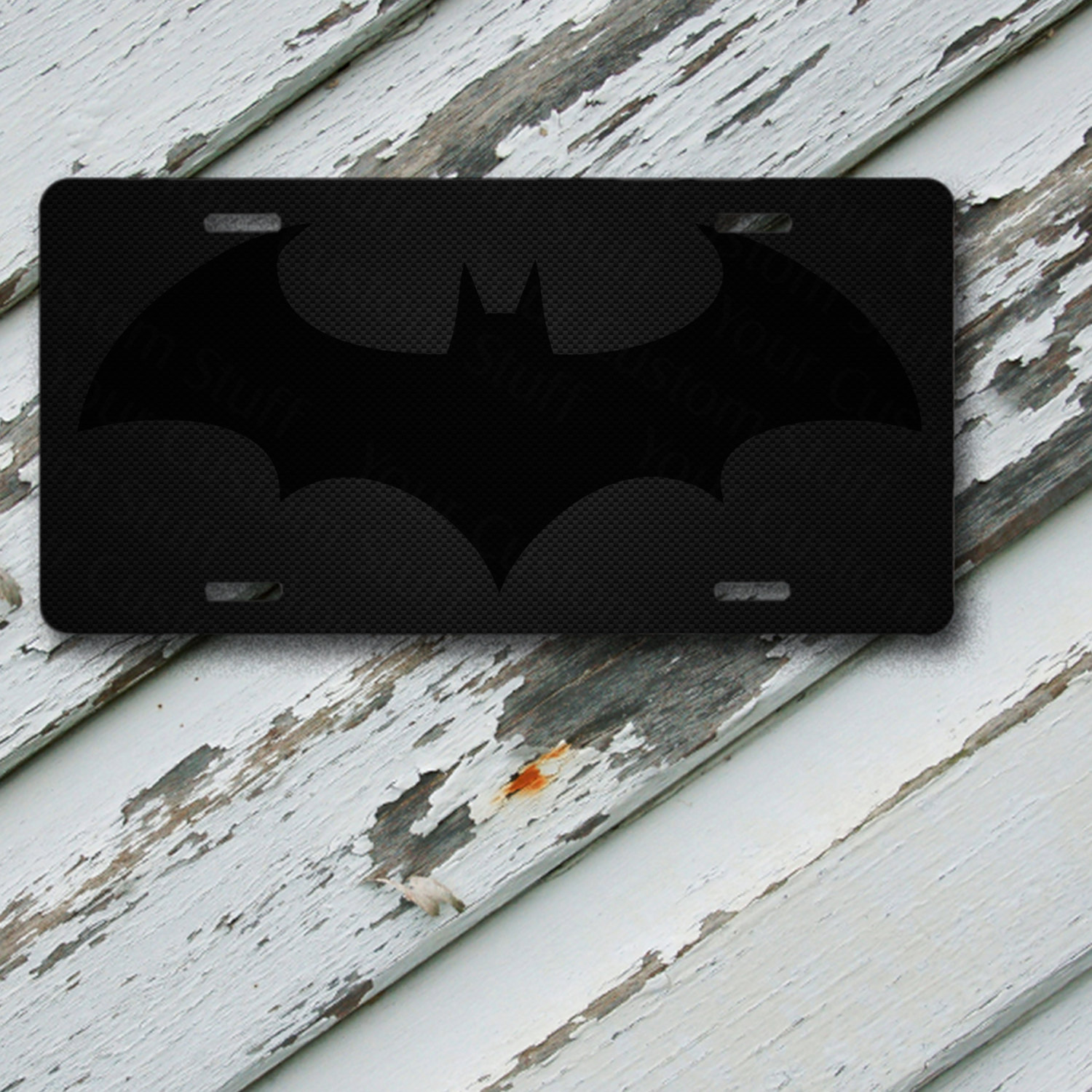 "License Plate Batman Logo Carbon Fiber Design on 6"" x 12""  Aluminum License Plate"