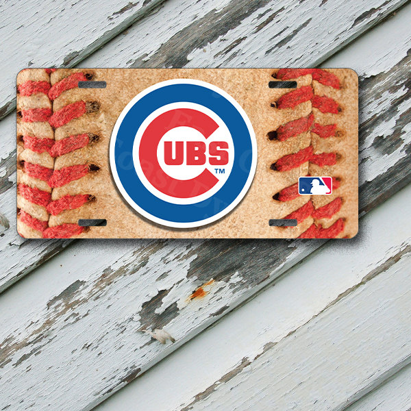"License Plate Chicago Cubs Baseball Design 2 on 6"" x 12""  Aluminum License Plate"