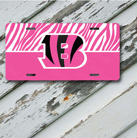 "License Plate Cincinnati Bengals Pink & White Zebra Design on 6"" x 12""  Aluminum License Plate"