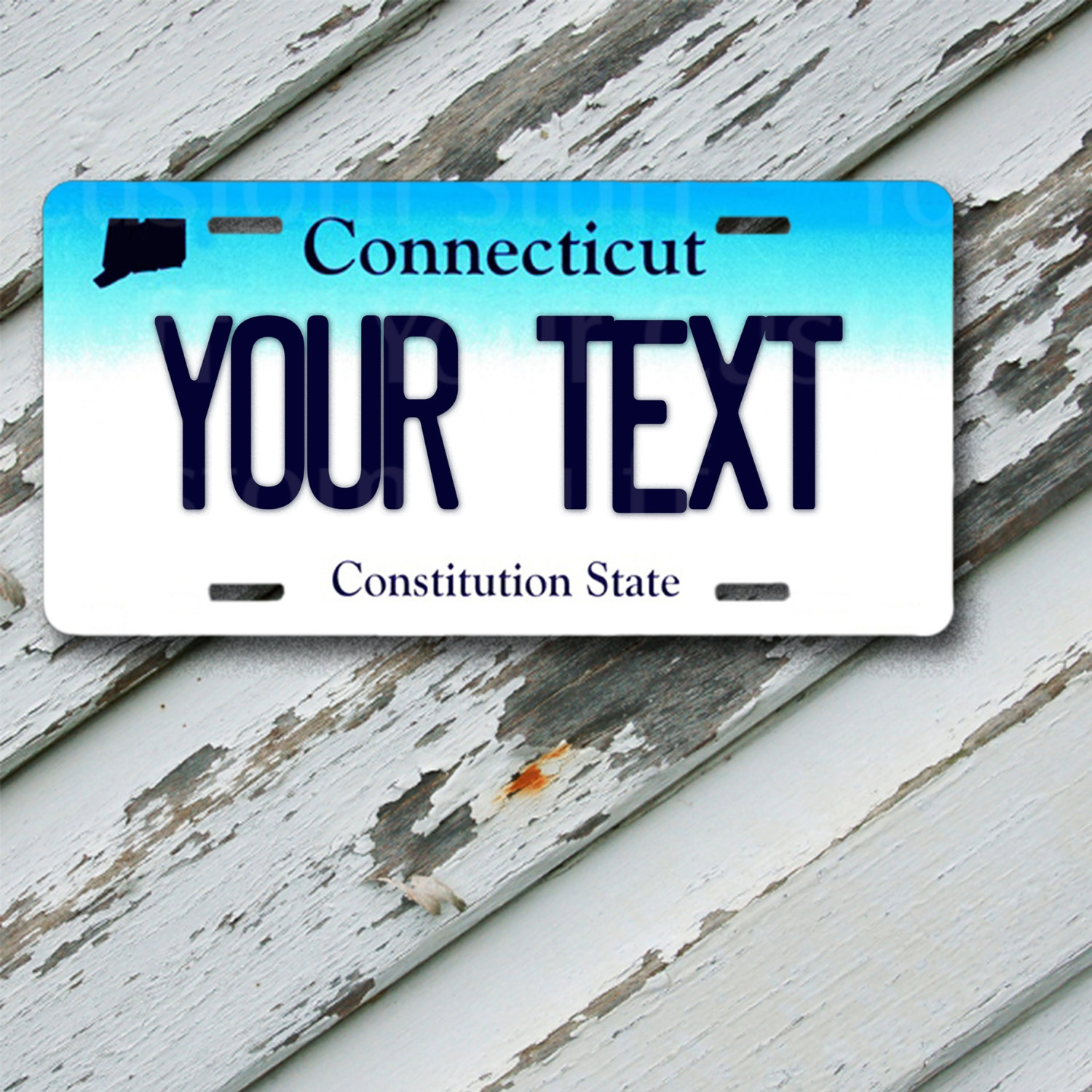 "License Plate Connecticut Customizable 6"" x 12""  Aluminum Vanity License Plate"