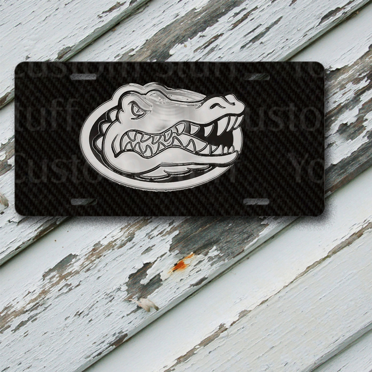 "License Plate Florida Gators Black & Chrome Look Design on 6"" x 12""  Aluminum License Plate"