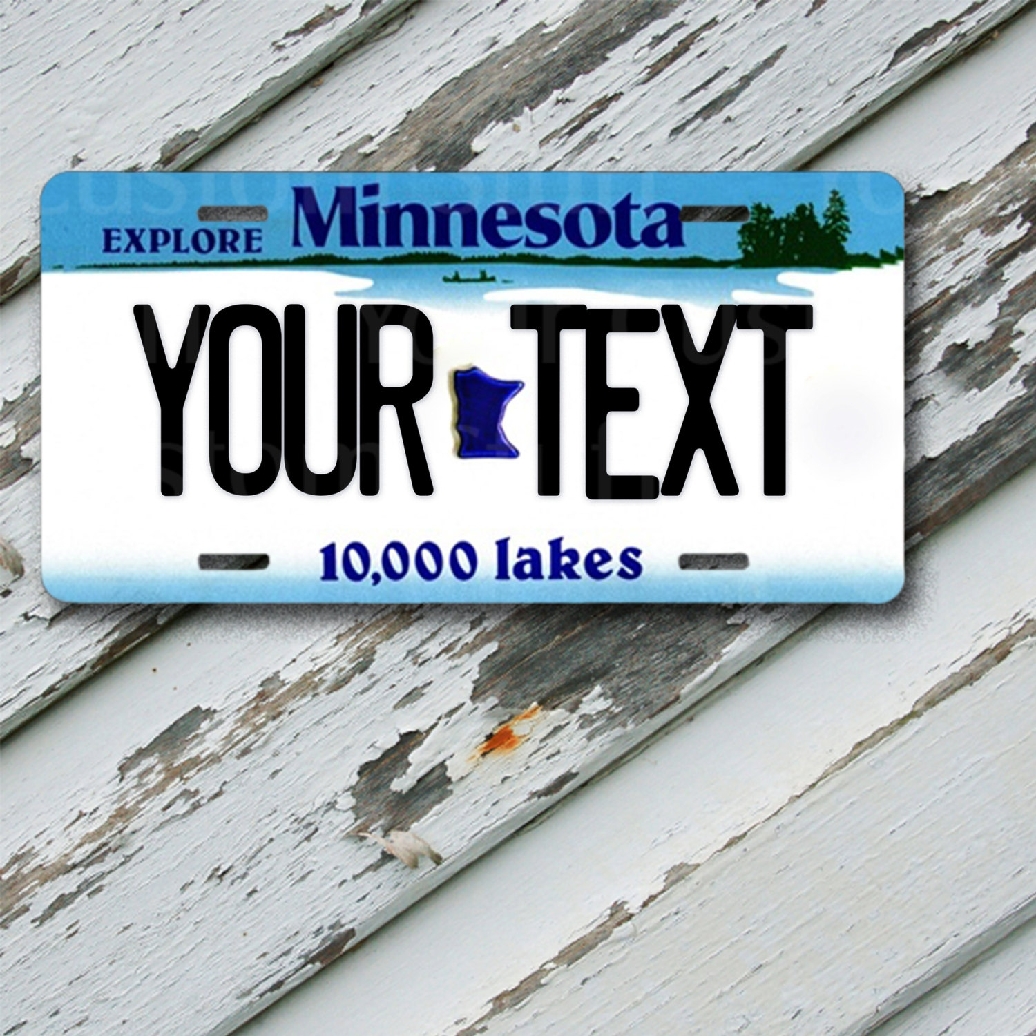 "License Plate Minnesota Customizable 6"" x 12""  Aluminum Vanity License Plate"