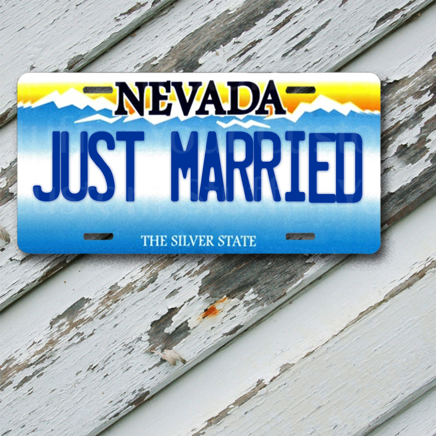 "License Plate Nevada Just Married  6"" x 12""  Aluminum Vanity License Plate"