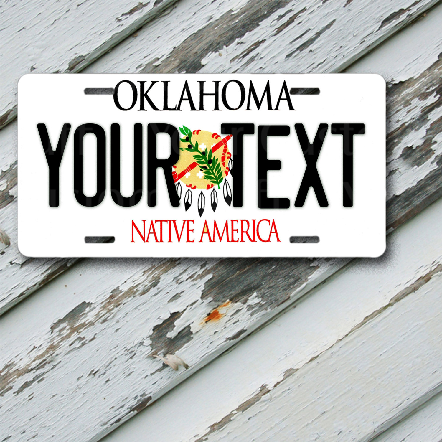 "License Plate Oklahoma Customizable 6"" x 12""  Aluminum Vanity License Plate"