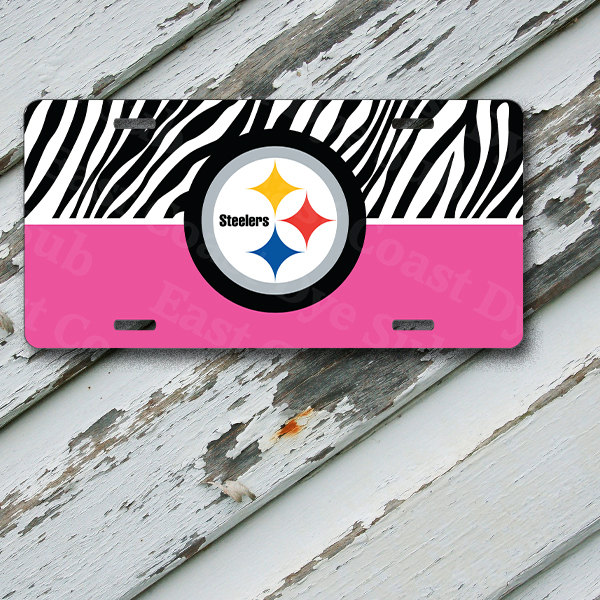 "License Plate Pittsburgh Steelers Pink w/ Zebra Print on 6"" x 12""  Aluminum License Plate"