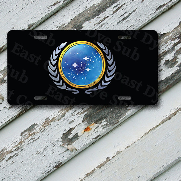 "License Plate Star Trek TNG Starfleet Logo Insignia on 6"" x 12""  Aluminum License Plate"