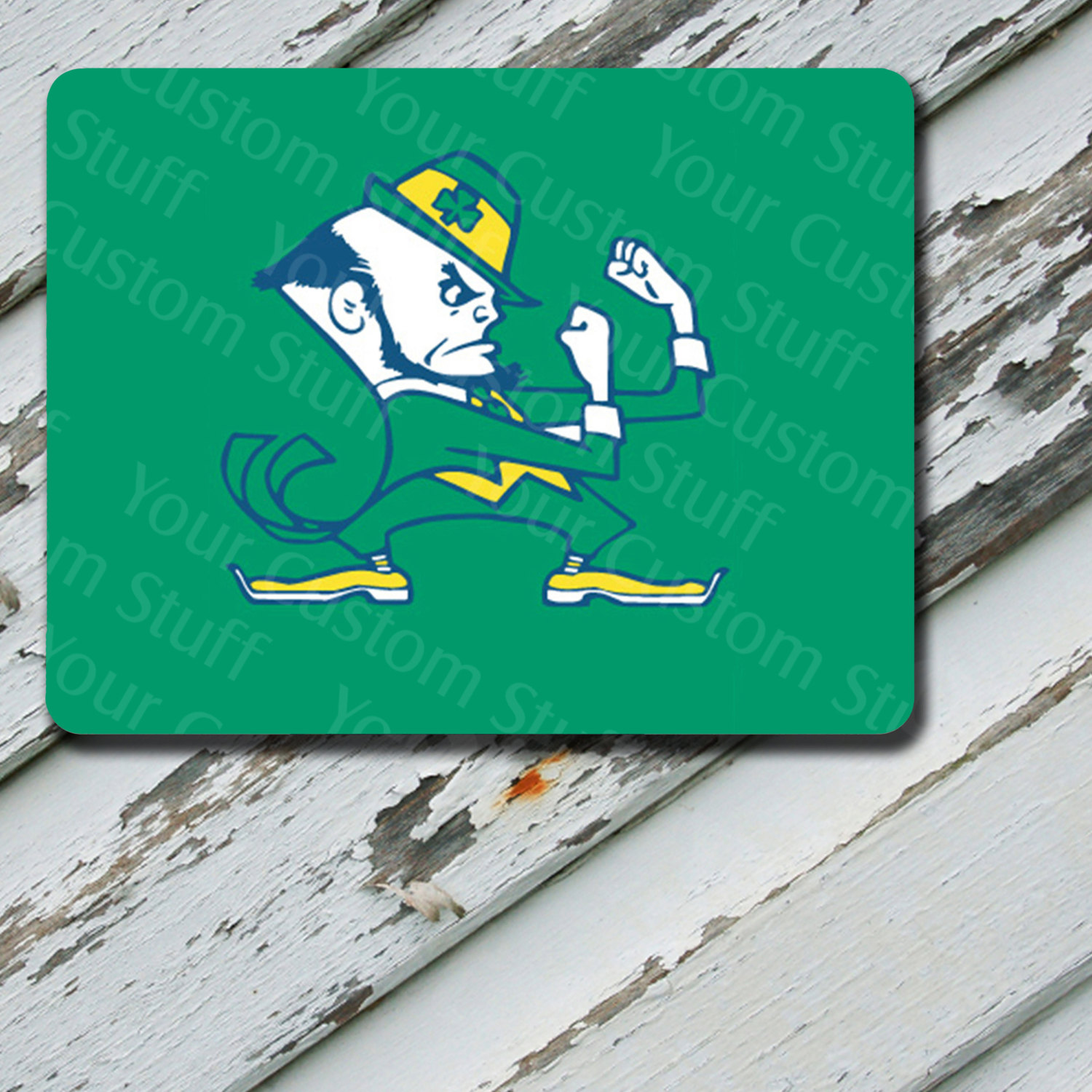 Mousepad Notre Dame Green Background Design on Mousepad