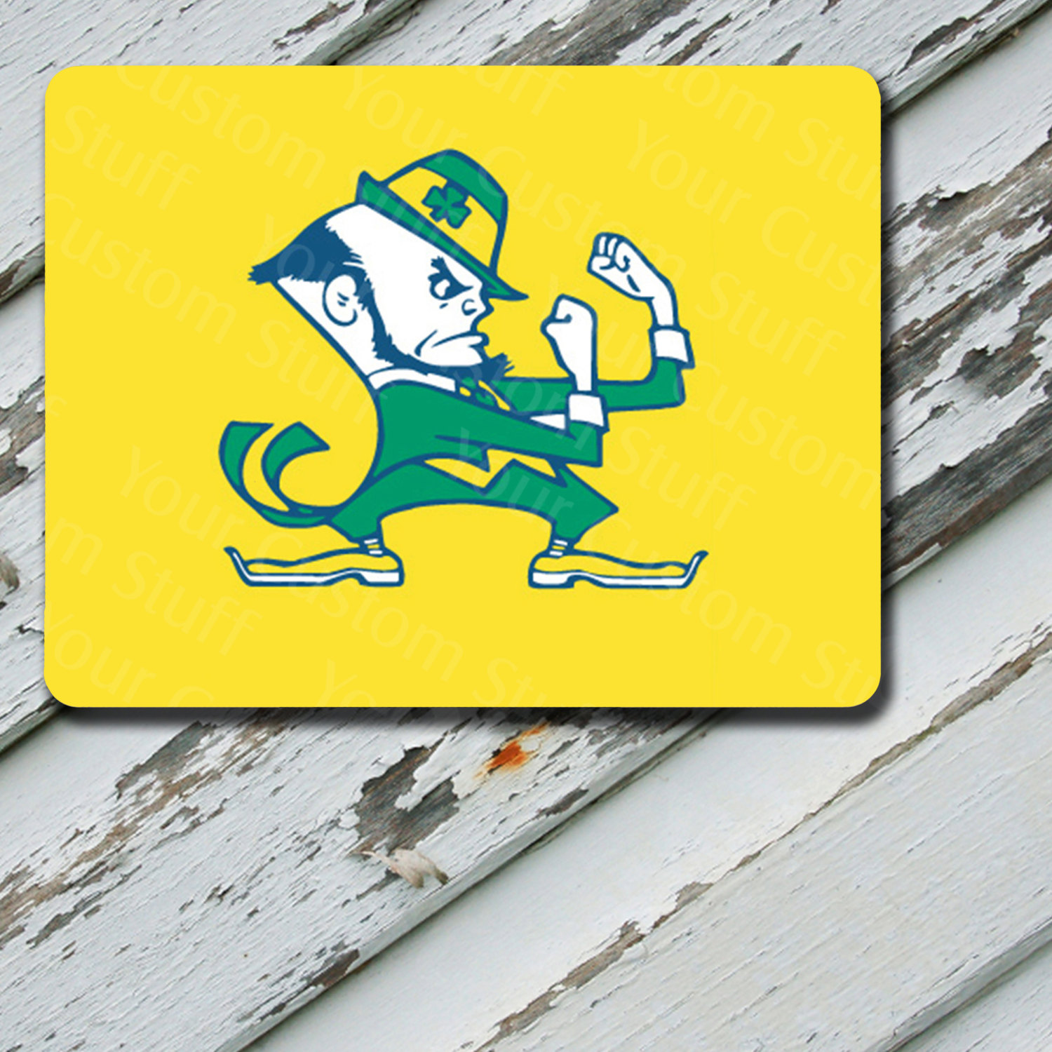 Mousepad Notre Dame Yellow Background Design on Mousepad