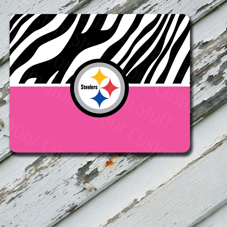 Mousepad Pink & Zebra Print Pittsburgh Steelers Design on Mousepad
