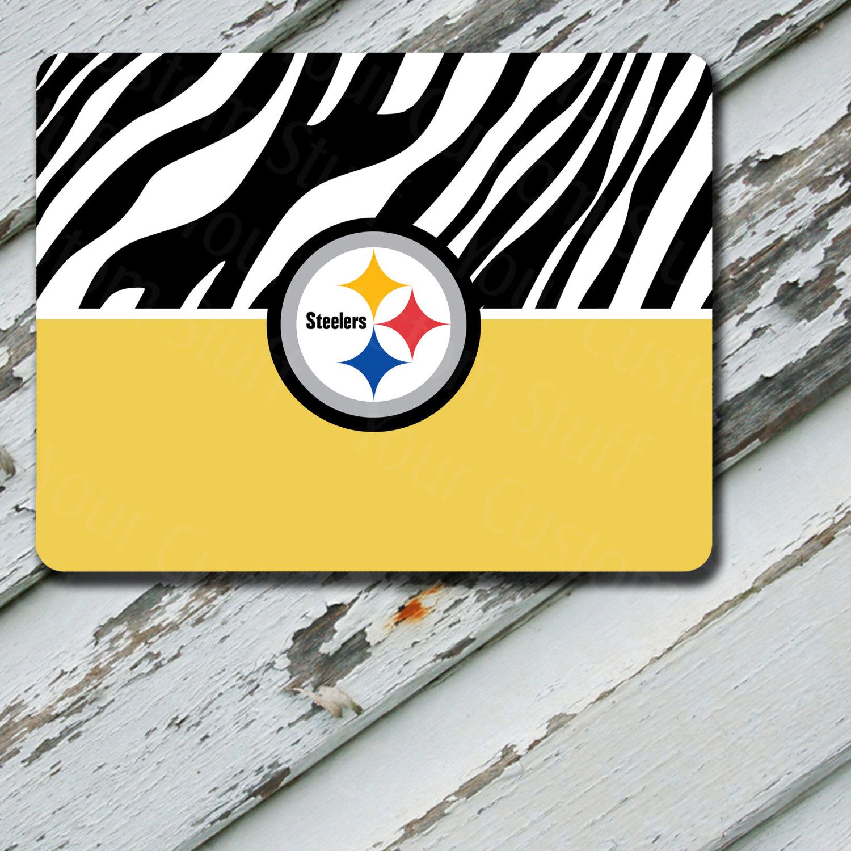 Mousepad Yellow Zebra Print Pittsburgh Steelers Design on Mousepad