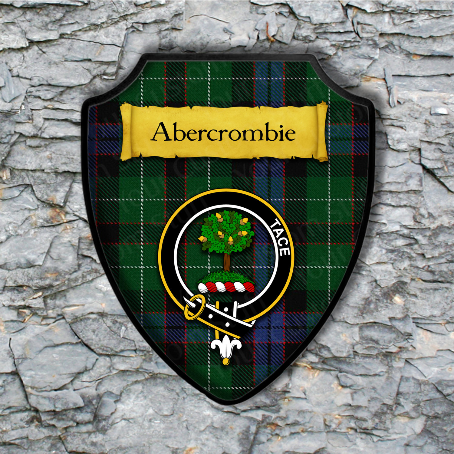 Abercrombie Shield Plaque with Scottish Clan Coat of Arms Badge on Clan Plaid Tartan Background Wall Art