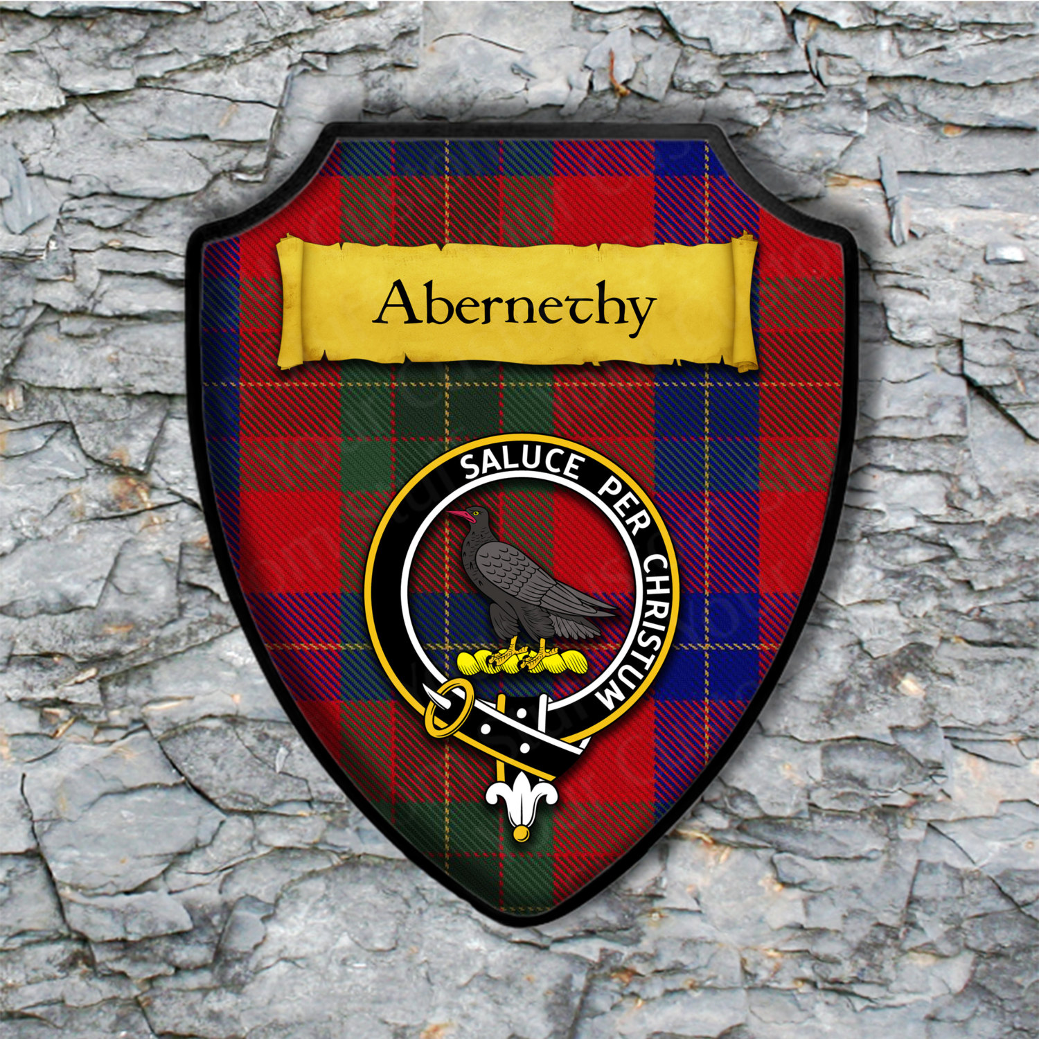 Abernethy Shield Plaque with Scottish Clan Coat of Arms Badge on Clan Plaid Tartan Background Wall Art