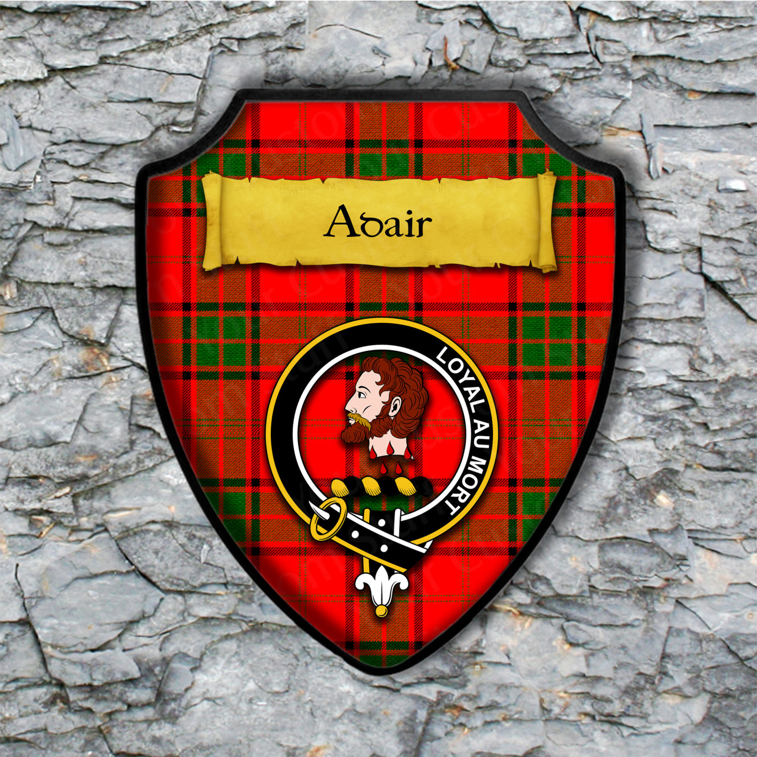 Adair Shield Plaque with Scottish Clan Coat of Arms Badge on Clan Plaid Tartan Background Wall Art