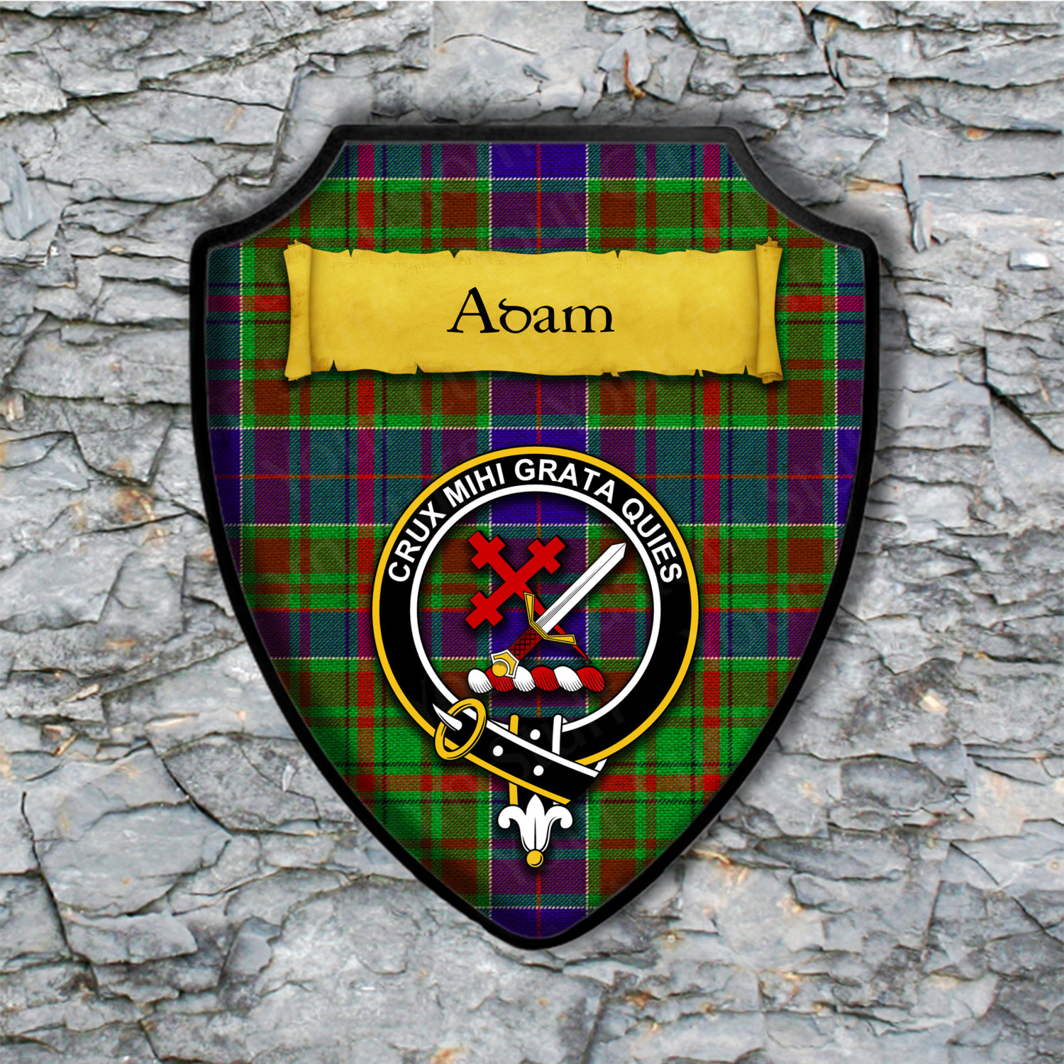 Adam or Adams Shield Plaque with Scottish Clan Coat of Arms Badge on Clan Plaid Tartan Background Wall Art