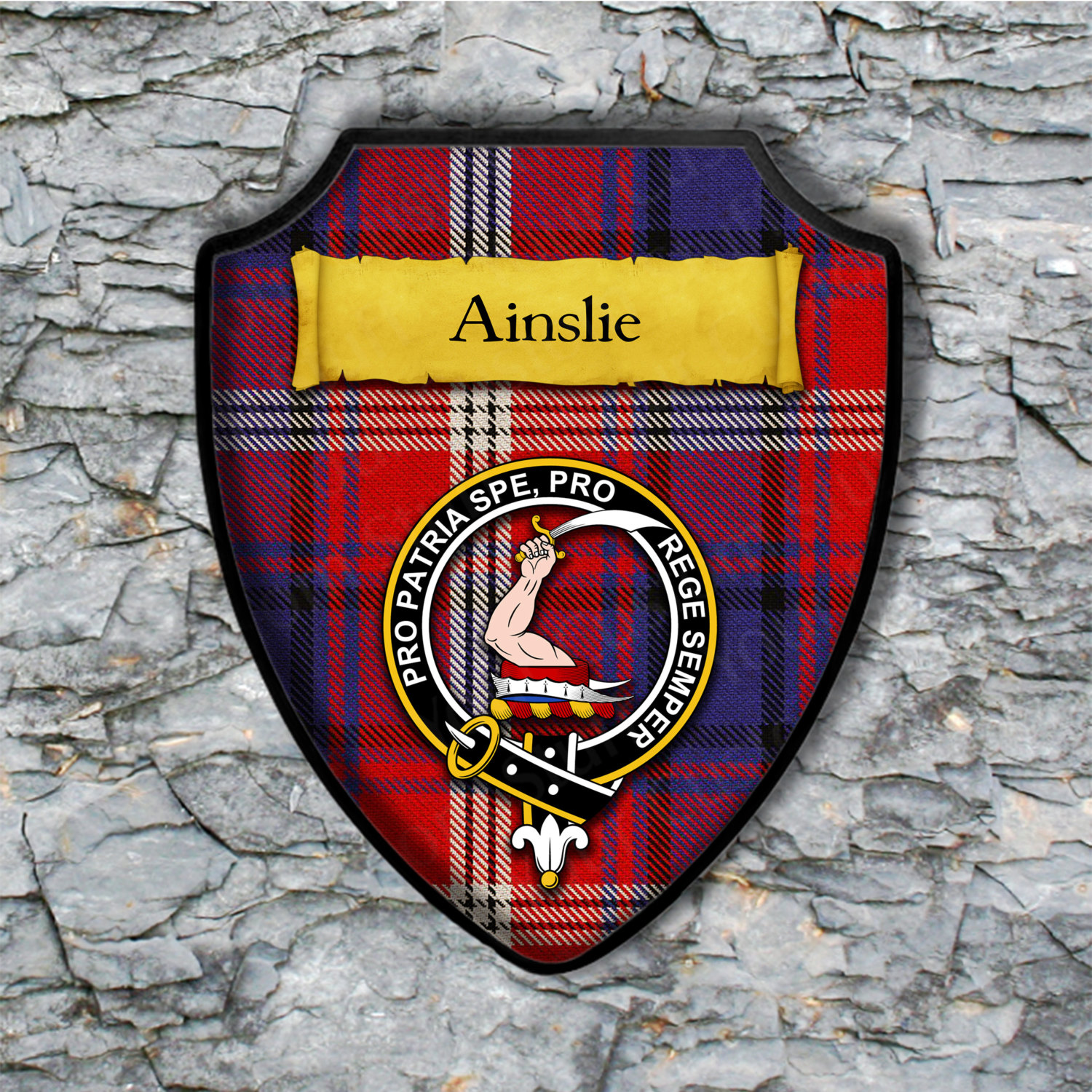 Ainslie Shield Plaque with Scottish Clan Coat of Arms Badge on Clan Plaid Tartan Background Wall Art