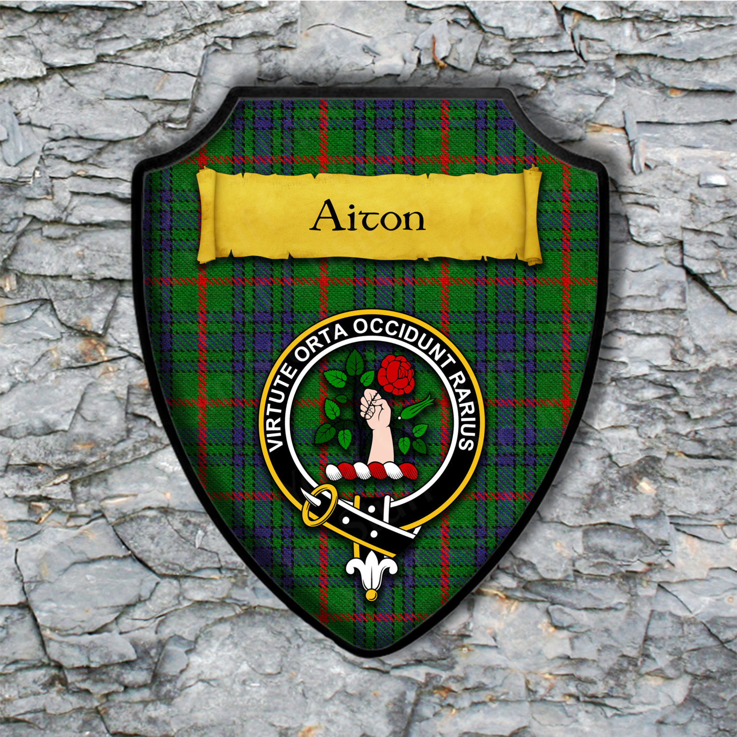 Aiton Shield Plaque with Scottish Clan Coat of Arms Badge on Clan Plaid Tartan Background Wall Art