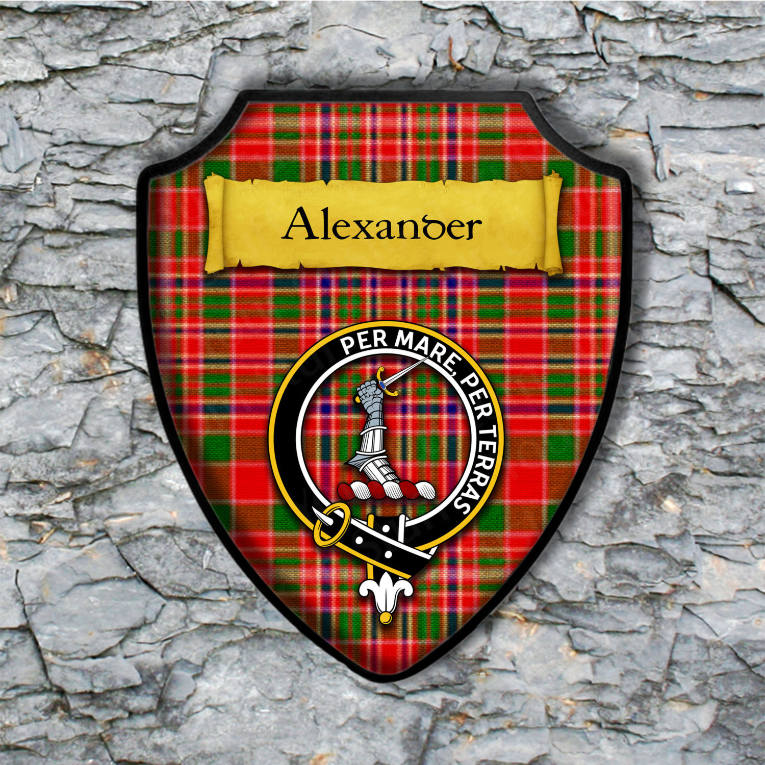 Alexander Clan MacAlister Sept Shield Plaque with Scottish Clan Coat of Arms Badge on Clan Plaid Tartan Background Wall Art