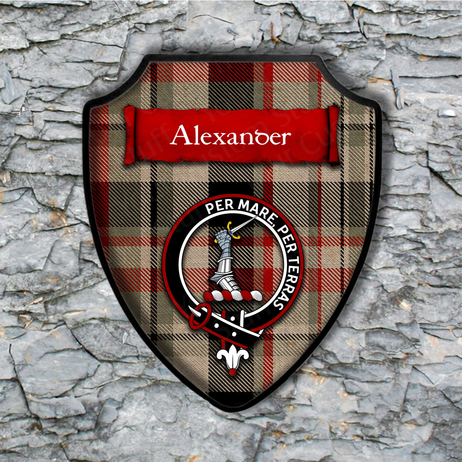Alexander Shield Plaque with Scottish Clan Coat of Arms Badge on Clan Plaid Tartan Background Wall Art