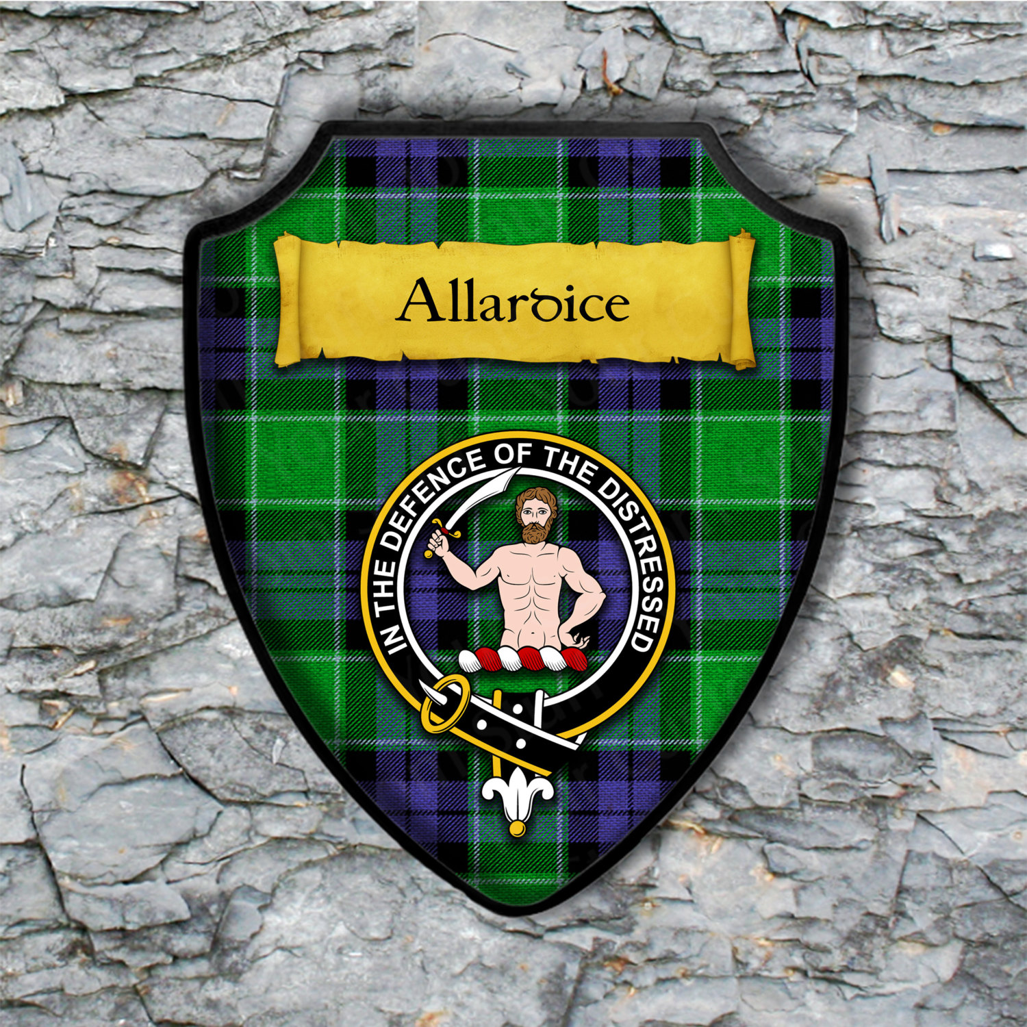 Allardice Shield Plaque with Scottish Clan Coat of Arms Badge on Clan Plaid Tartan Background Wall Art