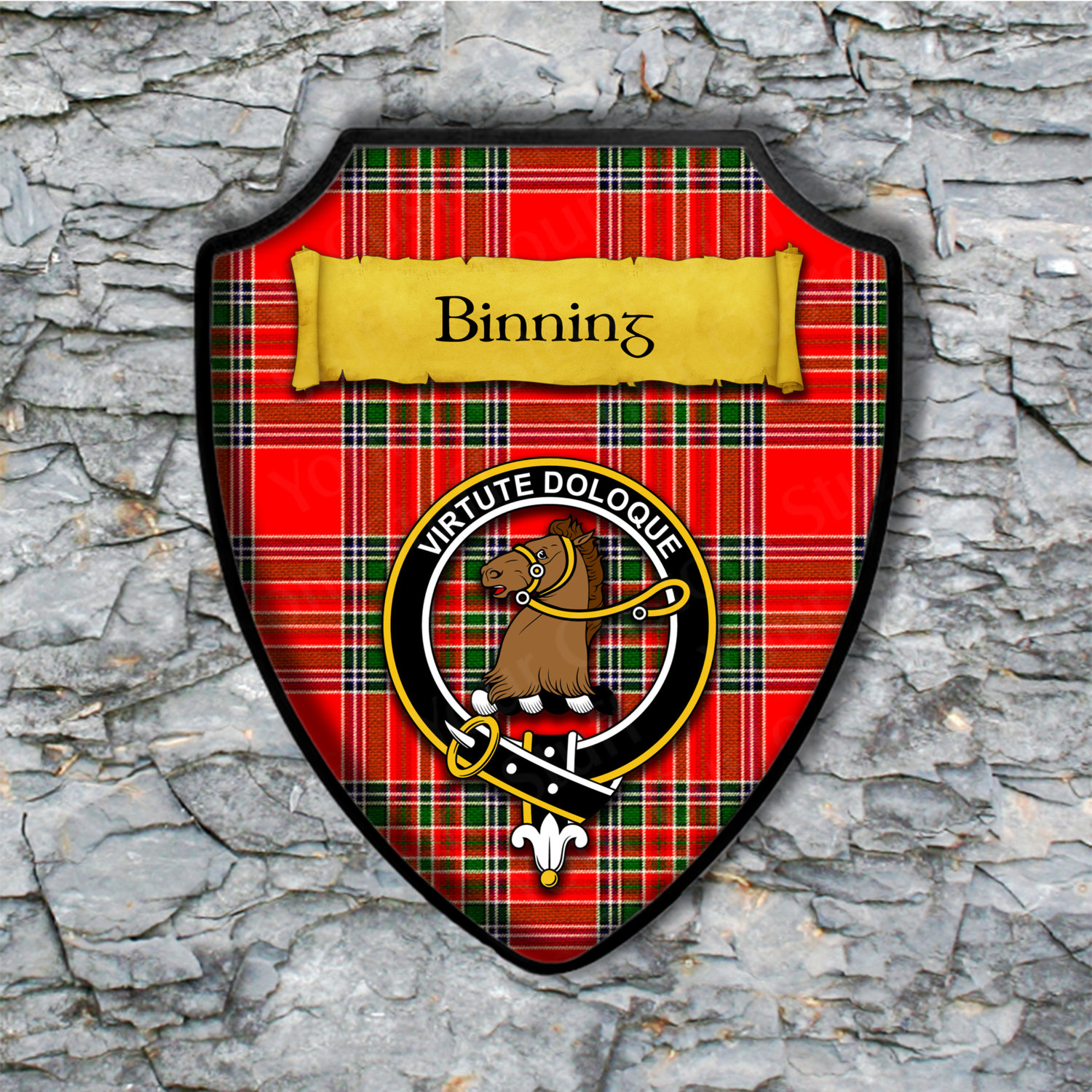 Binning Shield Plaque with Scottish Clan Coat of Arms Badge on Clan Plaid Tartan Background Wall Art