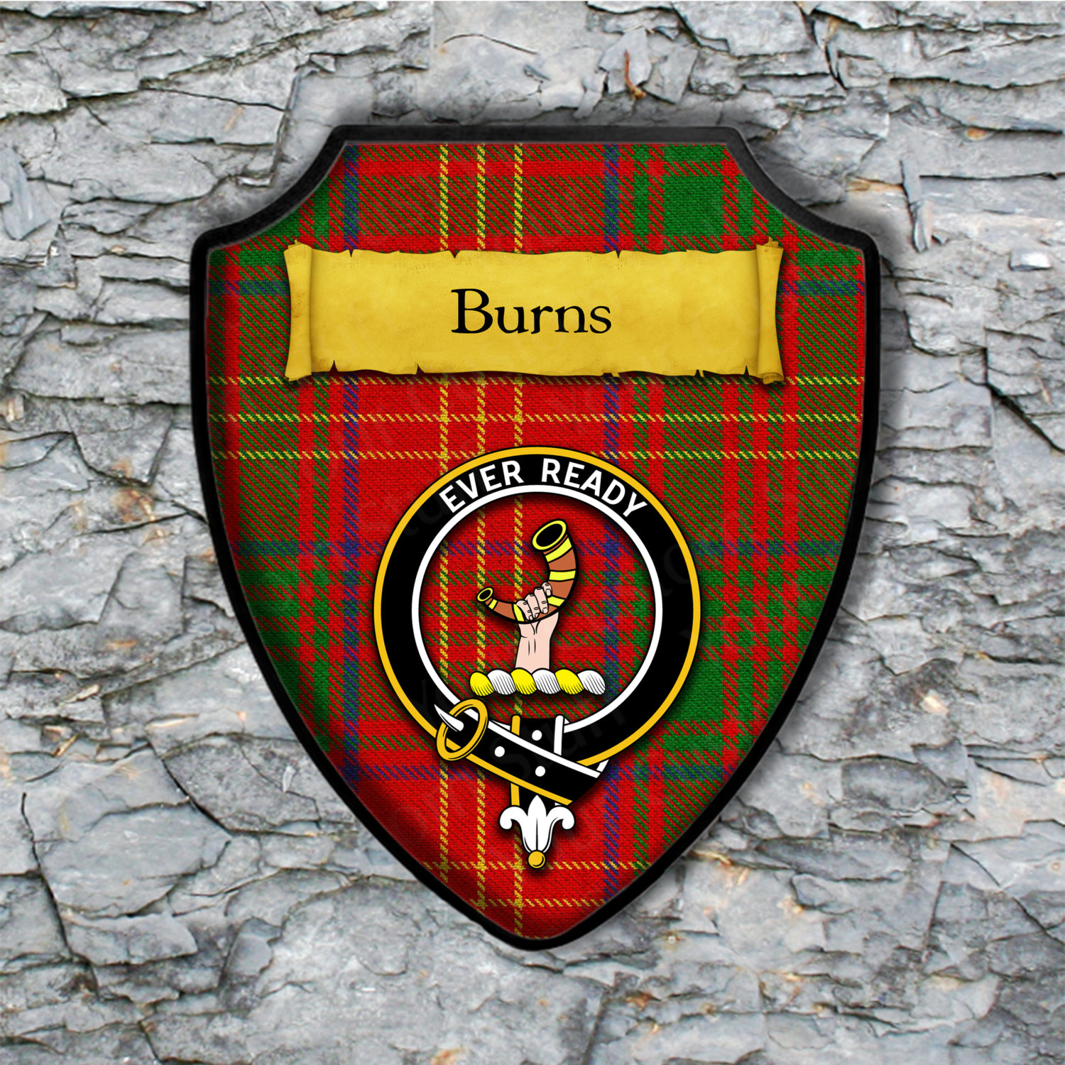 Burns Shield Plaque with Scottish Clan Coat of Arms Badge on Clan Plaid Tartan Background Wall Art