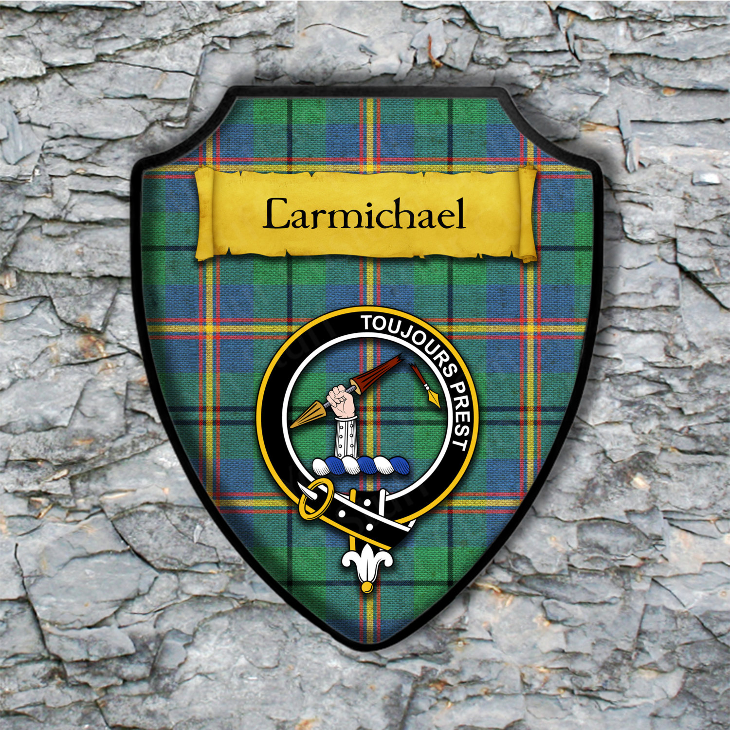Carmichael Shield Plaque with Scottish Clan Coat of Arms Badge on Clan Plaid Tartan Background Wall Art