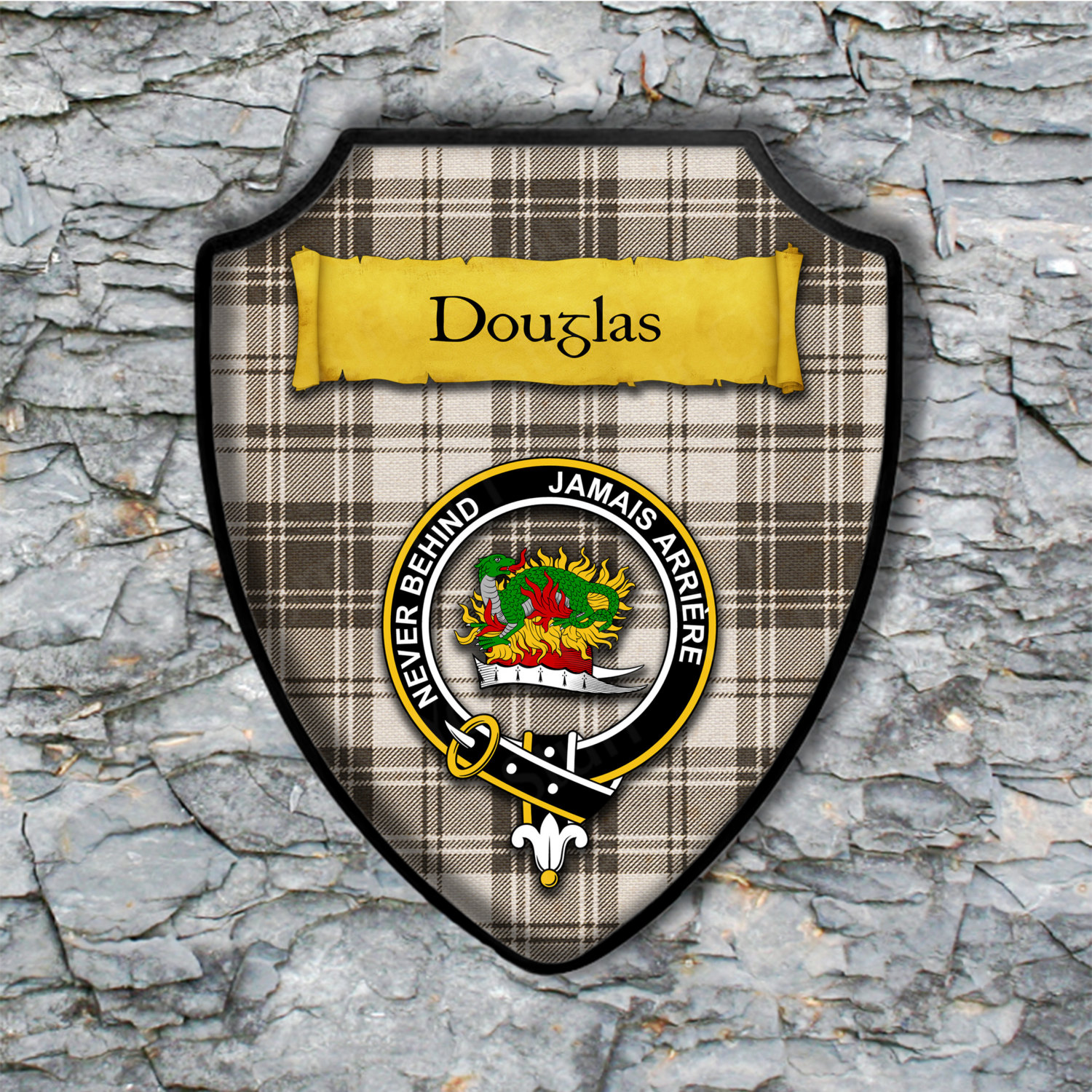 Douglas Shield Plaque with Scottish Clan Coat of Arms Badge on Clan Plaid Tartan Background Wall Art