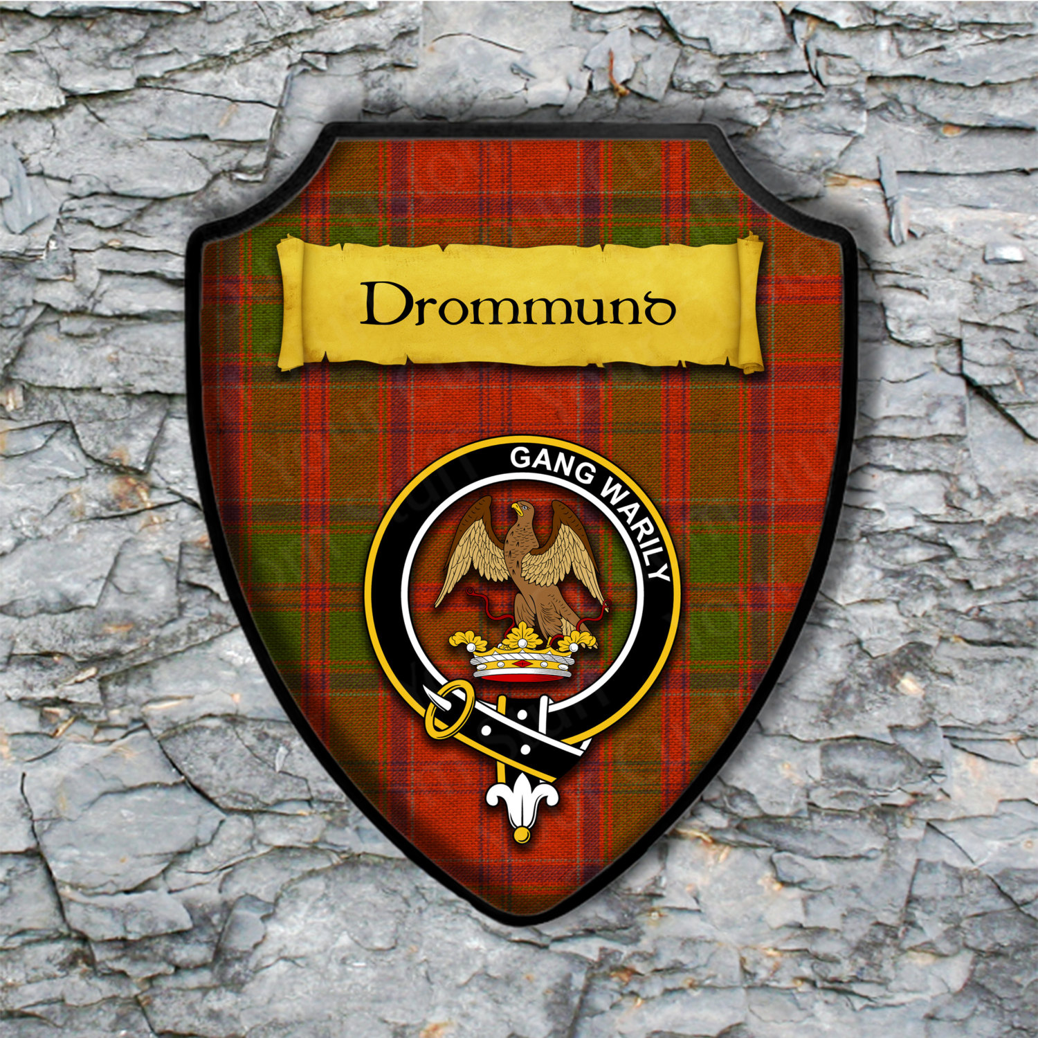 Drummond Shield Plaque with Scottish Clan Coat of Arms Badge on Clan Plaid Tartan Background Wall Art