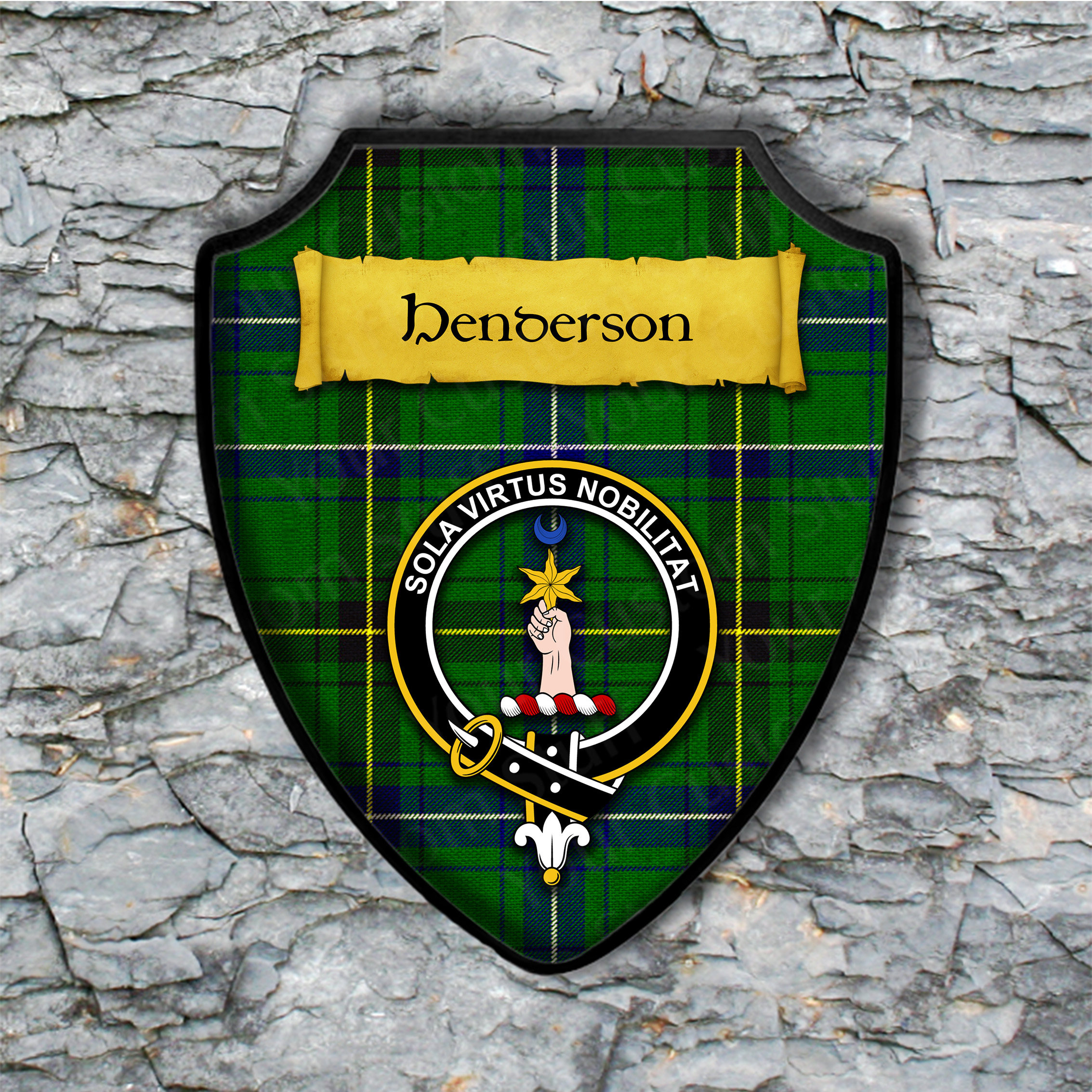 Henderson Shield Plaque with Scottish Clan Coat of Arms Badge on Clan Plaid Tartan Background Wall Art