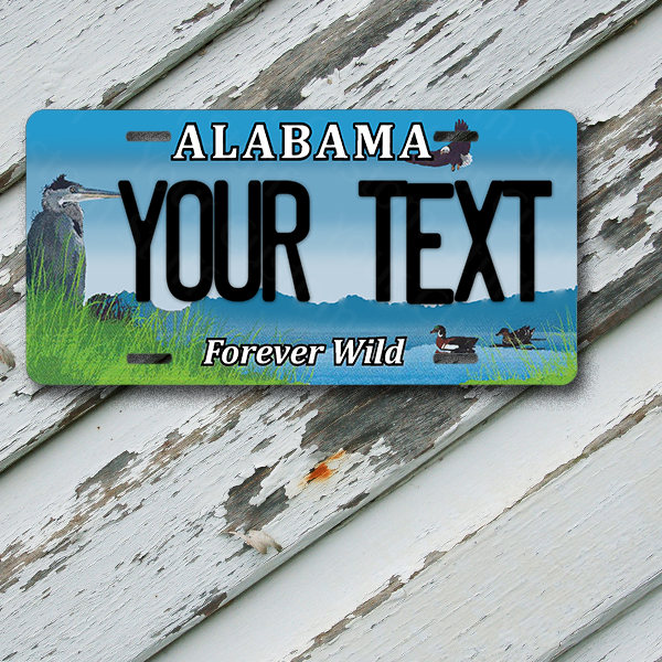 "License Plate Alabama Wave 2 Forever Wild Customizable 6"" x 12""  Aluminum Vanity License Plate"