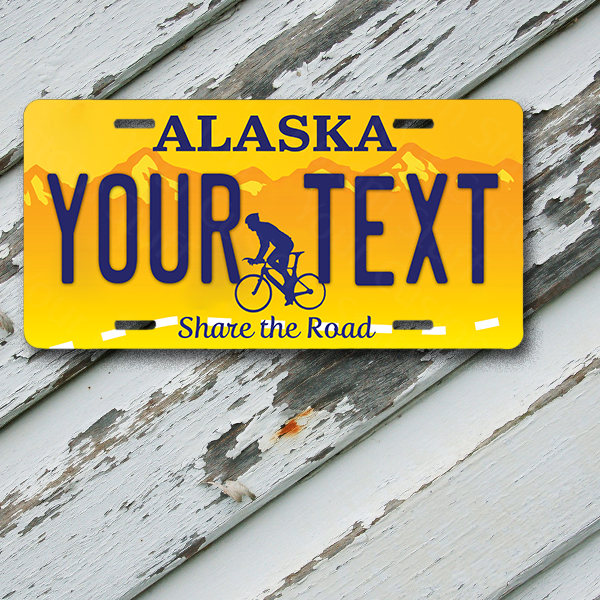 "License Plate Alaska Wave 2 Share The Road Customizable 6"" x 12""  Aluminum Vanity License Plate"