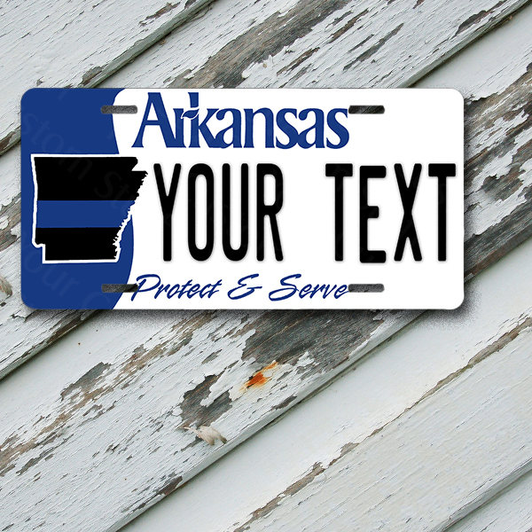 "License Plate Arkansas Wave 2 Protect & Serve Customizable 6"" x 12""  Aluminum Vanity License Plate"