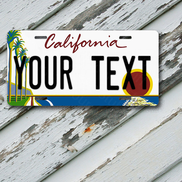 "License Plate California Wave 2 New Style Customizable 6"" x 12""  Aluminum Vanity License Plate"