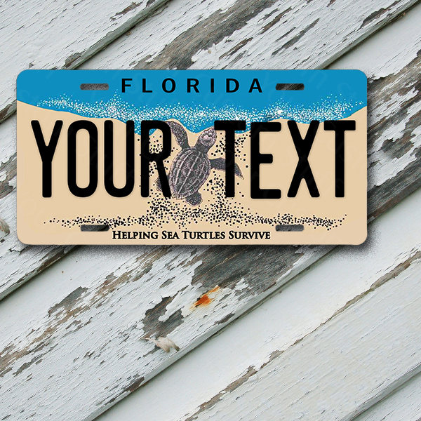 "License Plate Florida Wave 2 Helping Sea Turtles Survive Customizable 6"" x 12""  Aluminum Vanity License Plate"