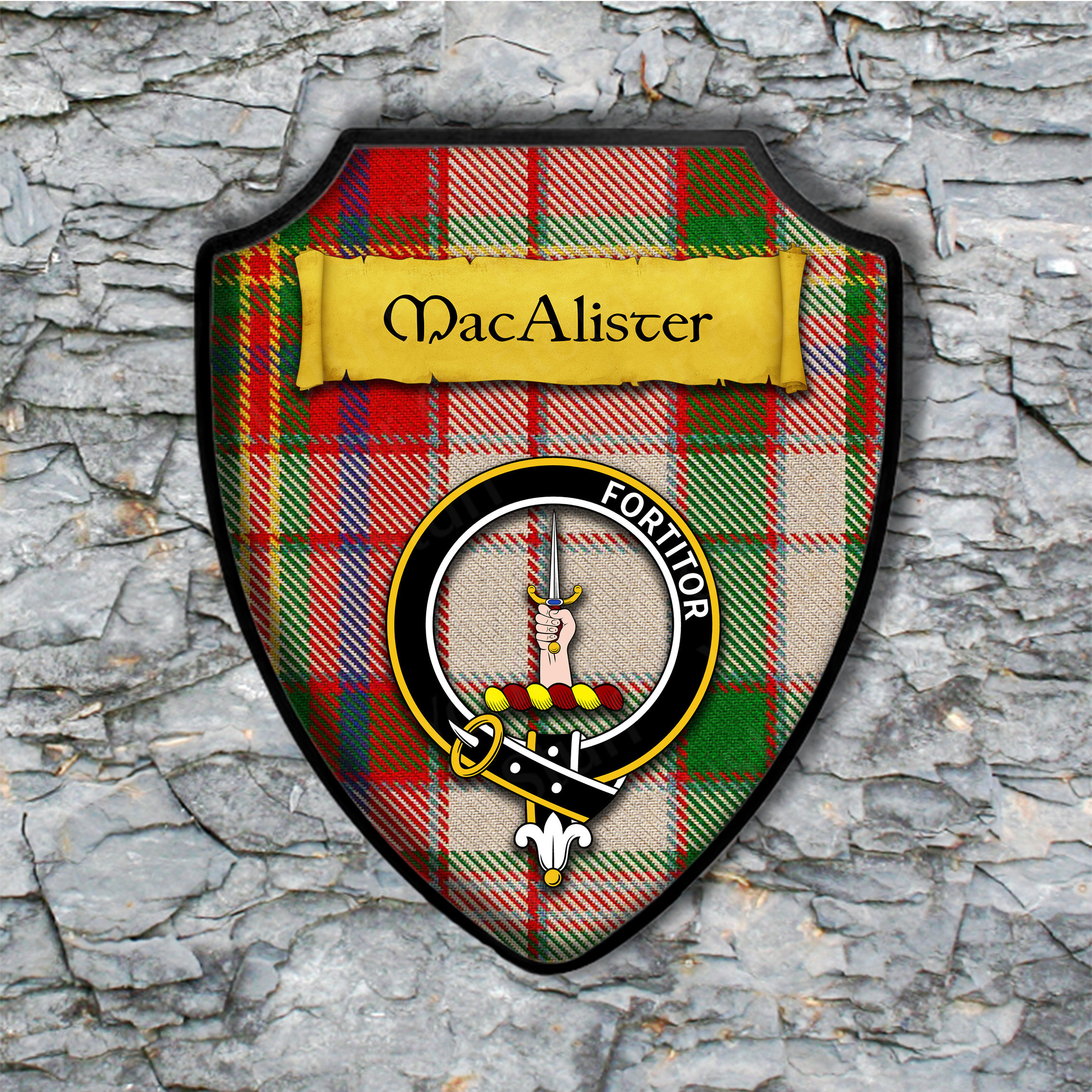 MacAlister Shield Plaque with Scottish Clan Coat of Arms Badge on Clan Plaid Tartan Background Wall Art