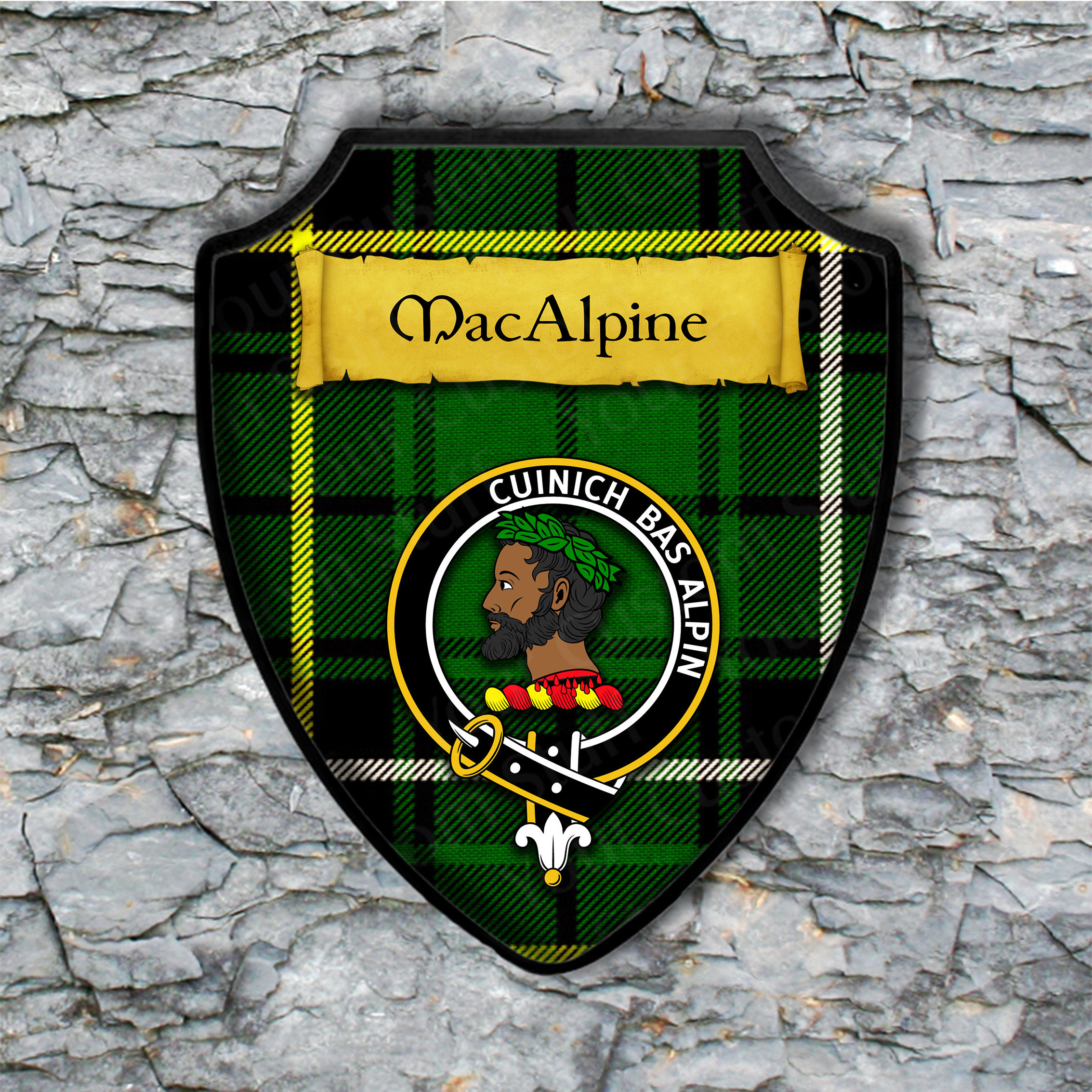 MacAlpine Shield Plaque with Scottish Clan Coat of Arms Badge on Clan Plaid Tartan Background Wall Art