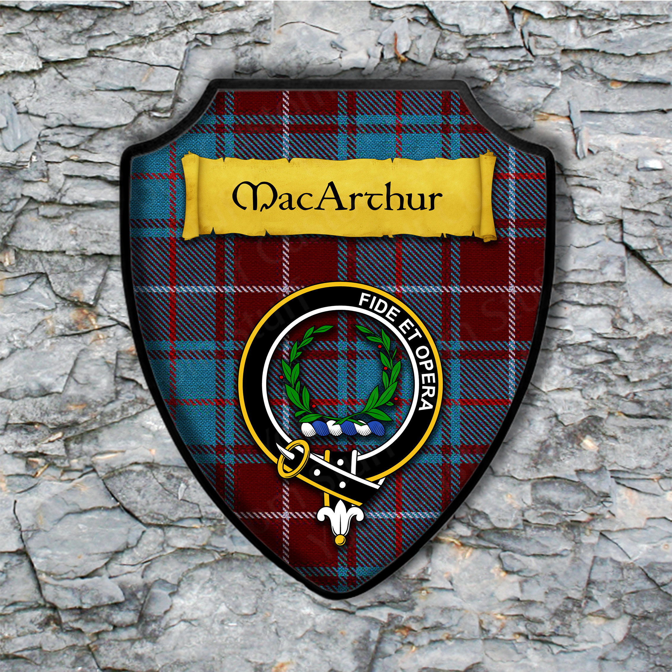 MacArthur Shield Plaque with Scottish Clan Coat of Arms Badge on Clan Plaid Tartan Background Wall Art