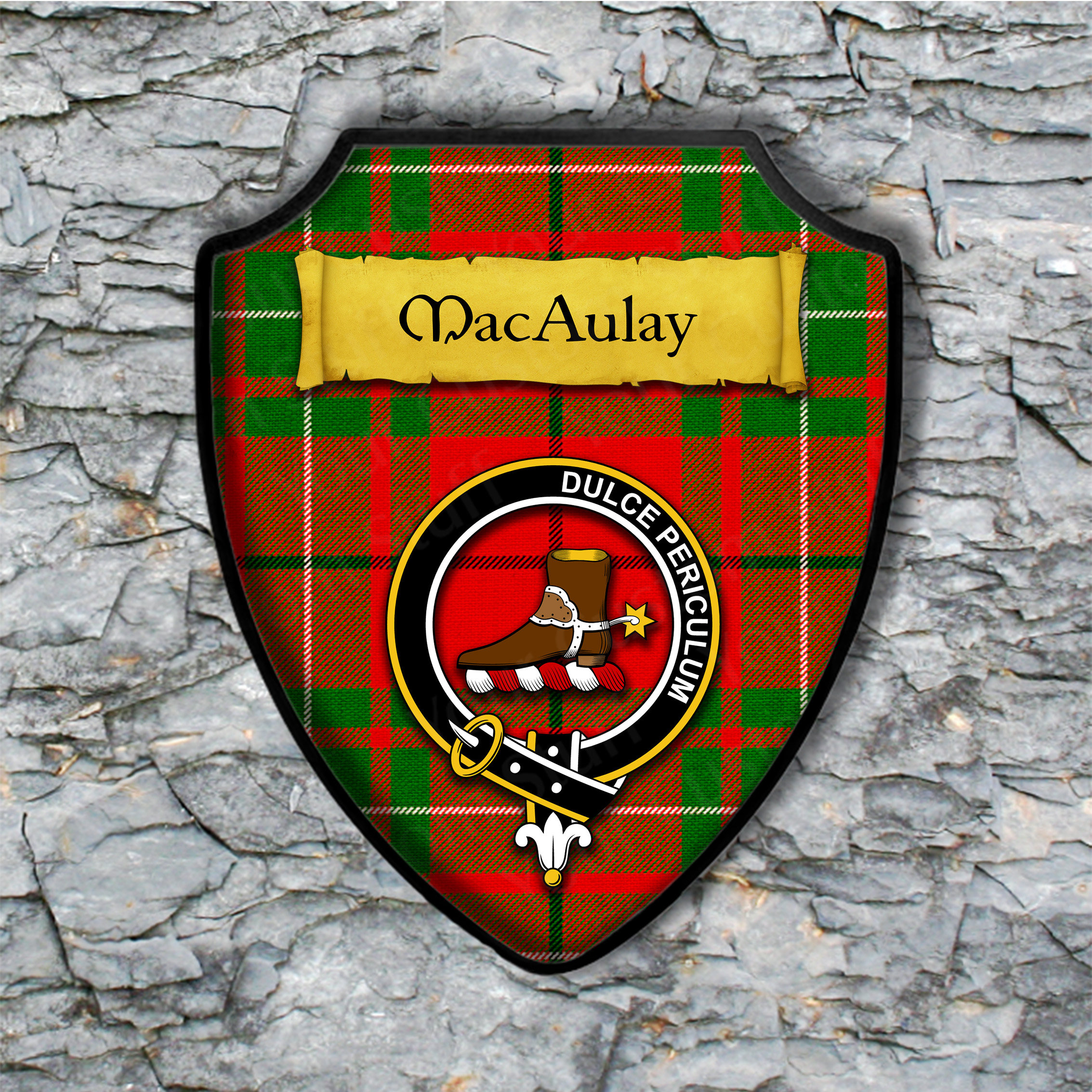 MacAulay Shield Plaque with Scottish Clan Coat of Arms Badge on Clan Plaid Tartan Background Wall Art