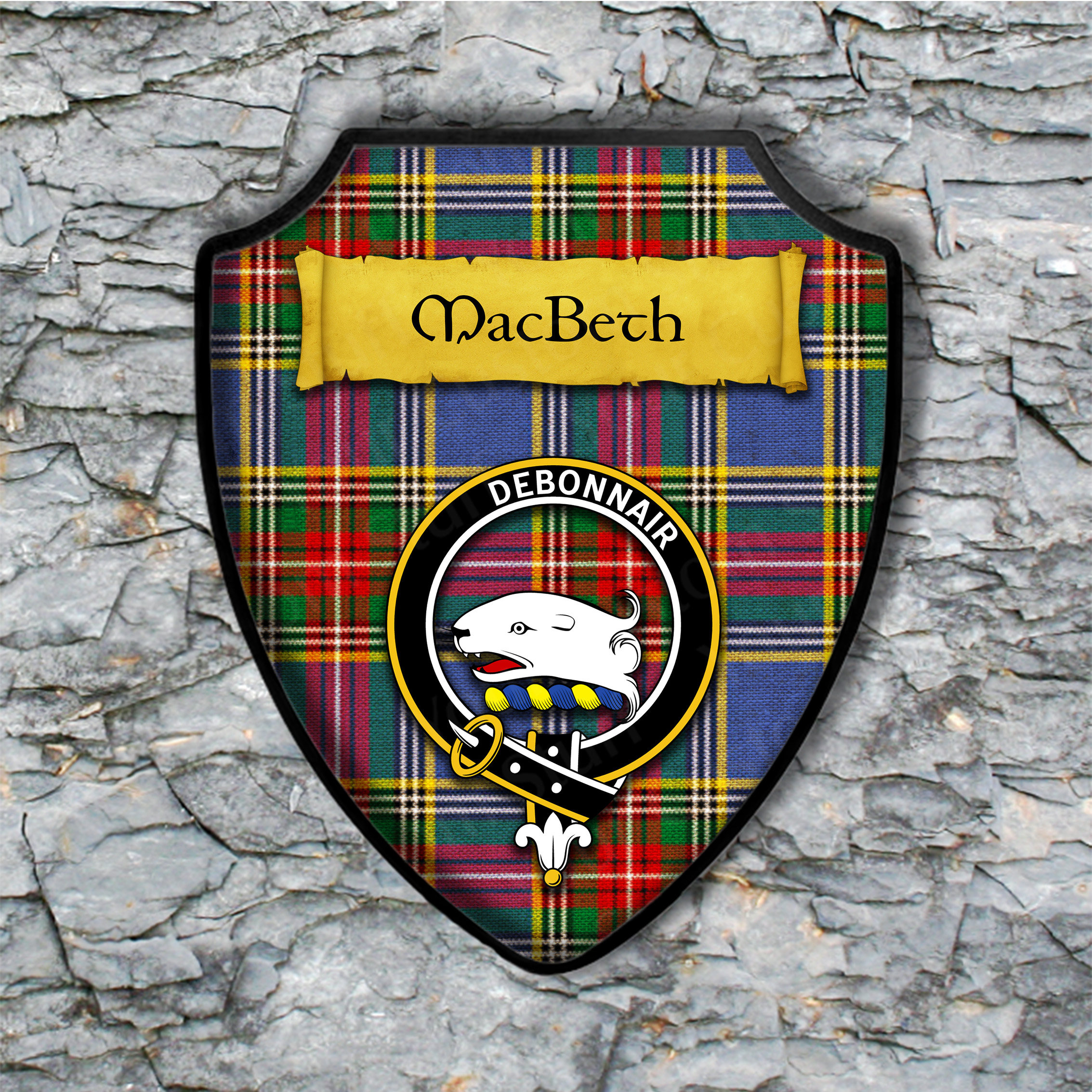 MacBeth Shield Plaque with Scottish Clan Coat of Arms Badge on Clan Plaid Tartan Background Wall Art