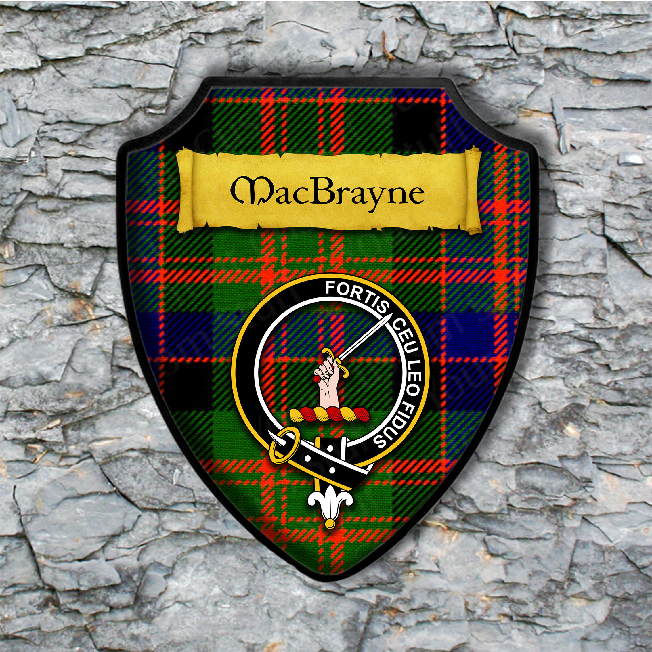 MacBrayne Shield Plaque with Scottish Clan Coat of Arms Badge on Clan Plaid Tartan Background Wall Art
