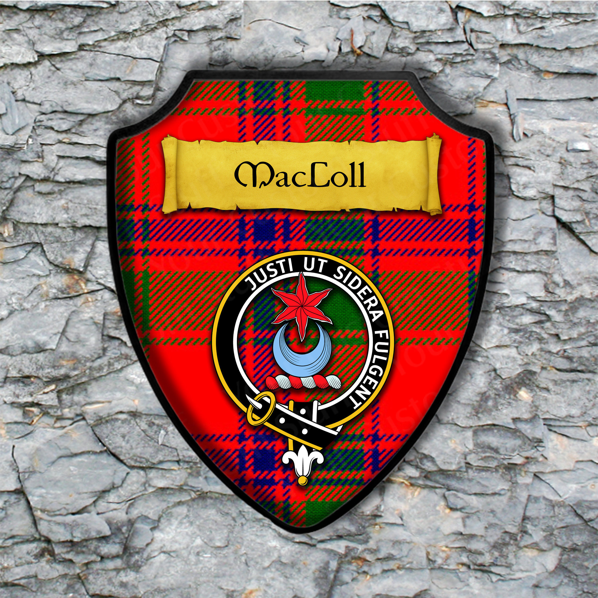 MacColl Shield Plaque with Scottish Clan Coat of Arms Badge on Clan Plaid Tartan Background Wall Art