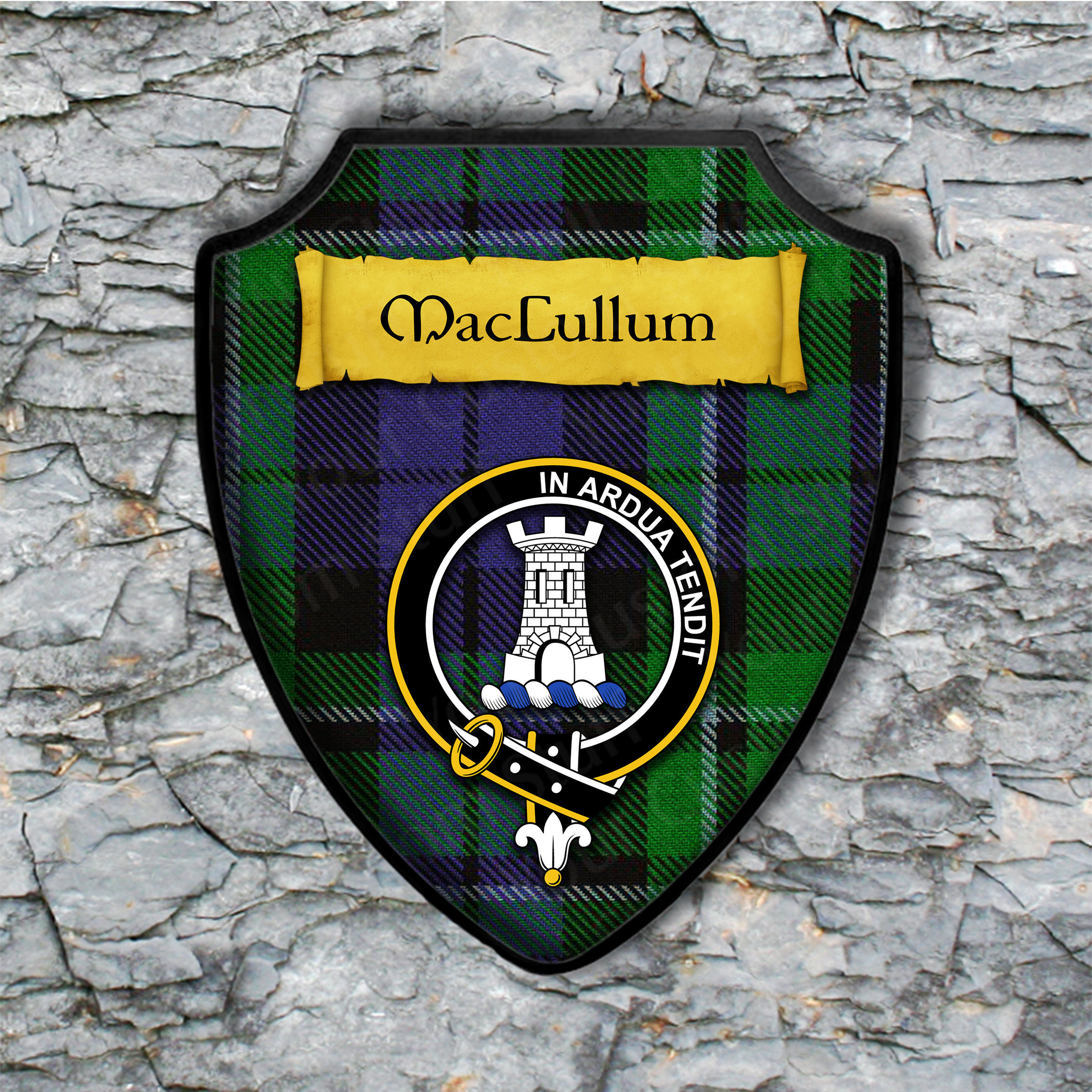 MacCullum Shield Plaque with Scottish Clan Coat of Arms Badge on Clan Plaid Tartan Background Wall Art