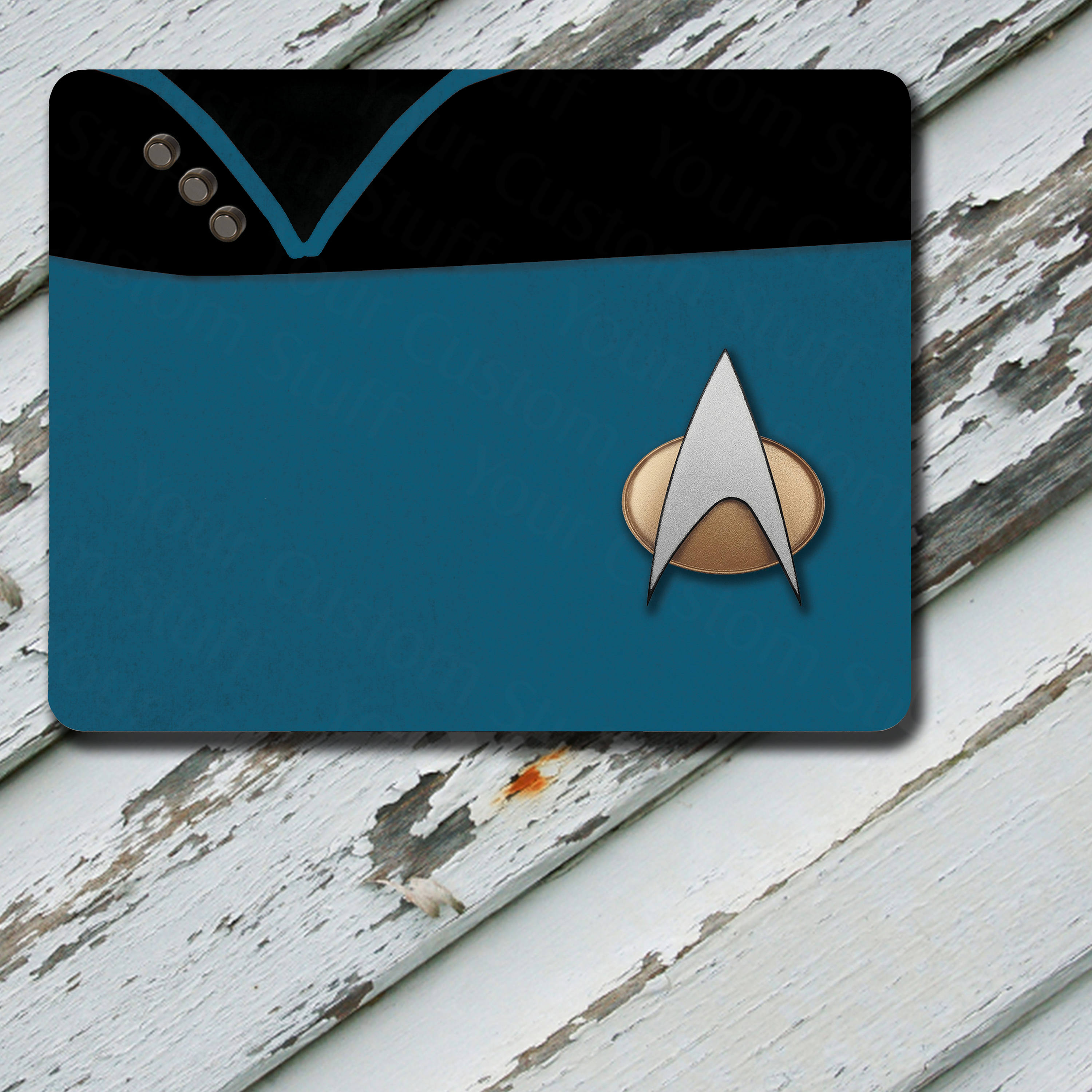 Mousepad Star Trek The Next Generation TNG Beverly Crusher Chief Medical Officer Uniform Blue Fabric Pattern on Mousepad