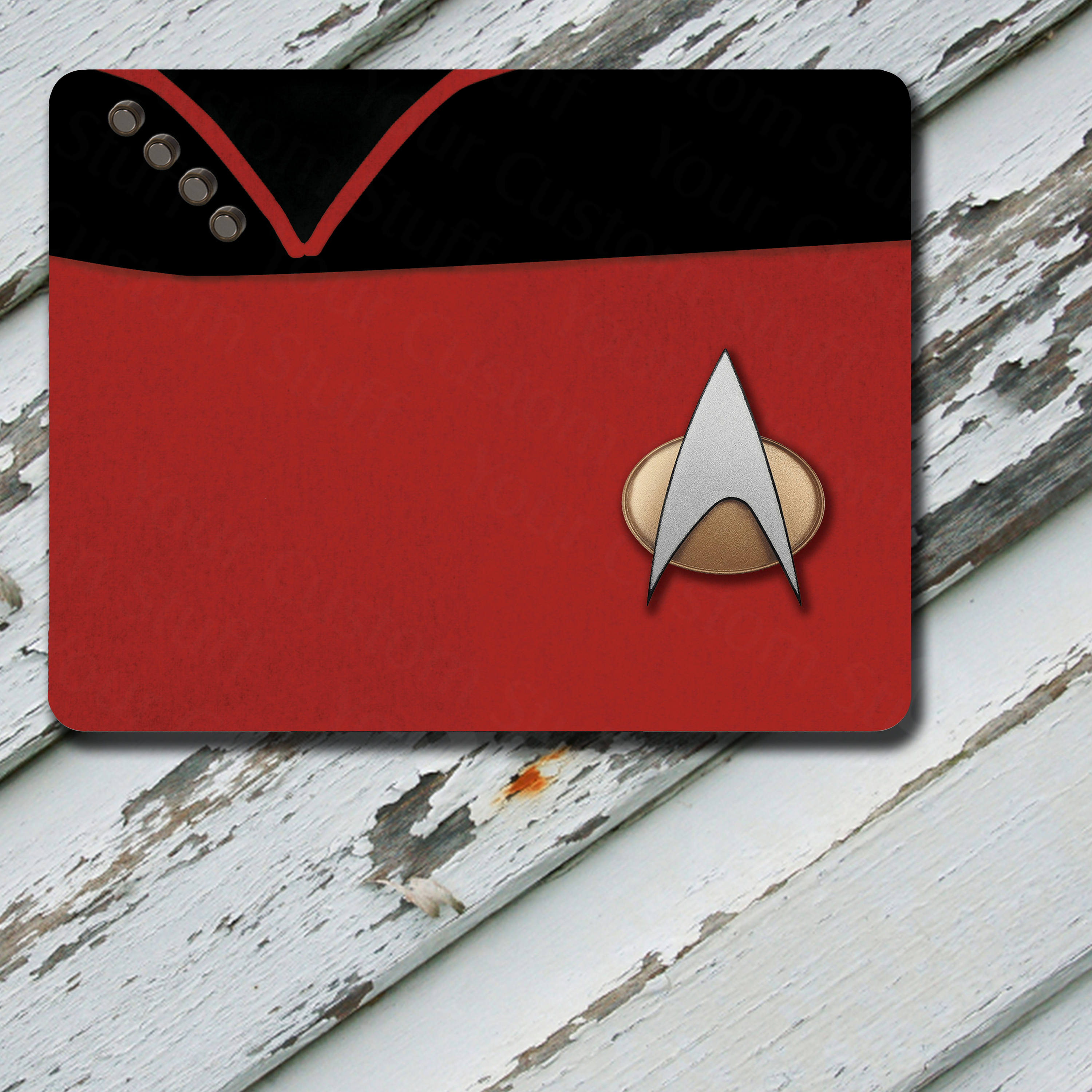 Mousepad Star Trek The Next Generation TNG Command Pips Captain Uniform Uniform Red Fabric Pattern on Mousepad