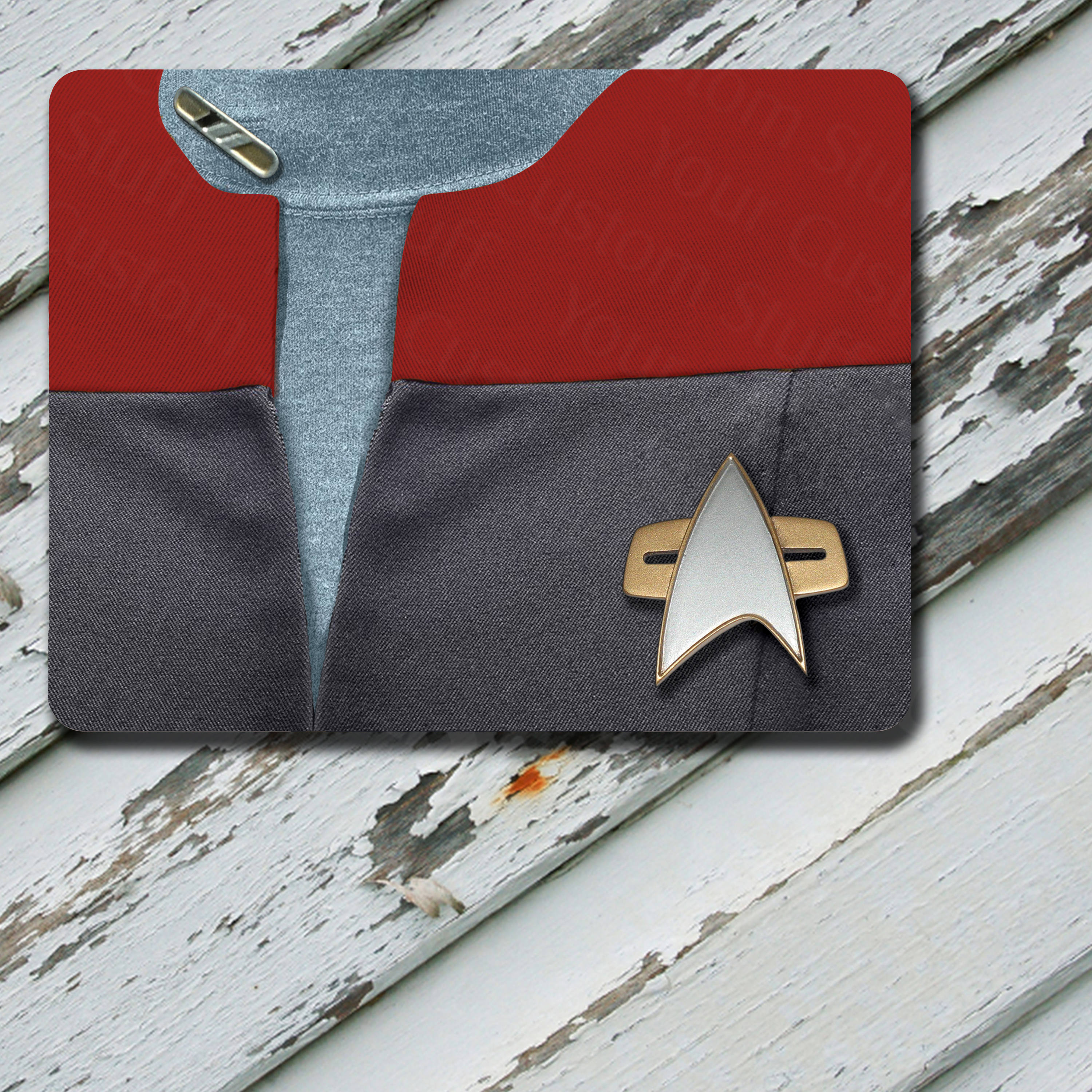 Mousepad Star Trek Voyager VOY Command Pips Commander Chakotay Uniform Uniform Red Fabric Pattern on Mousepad